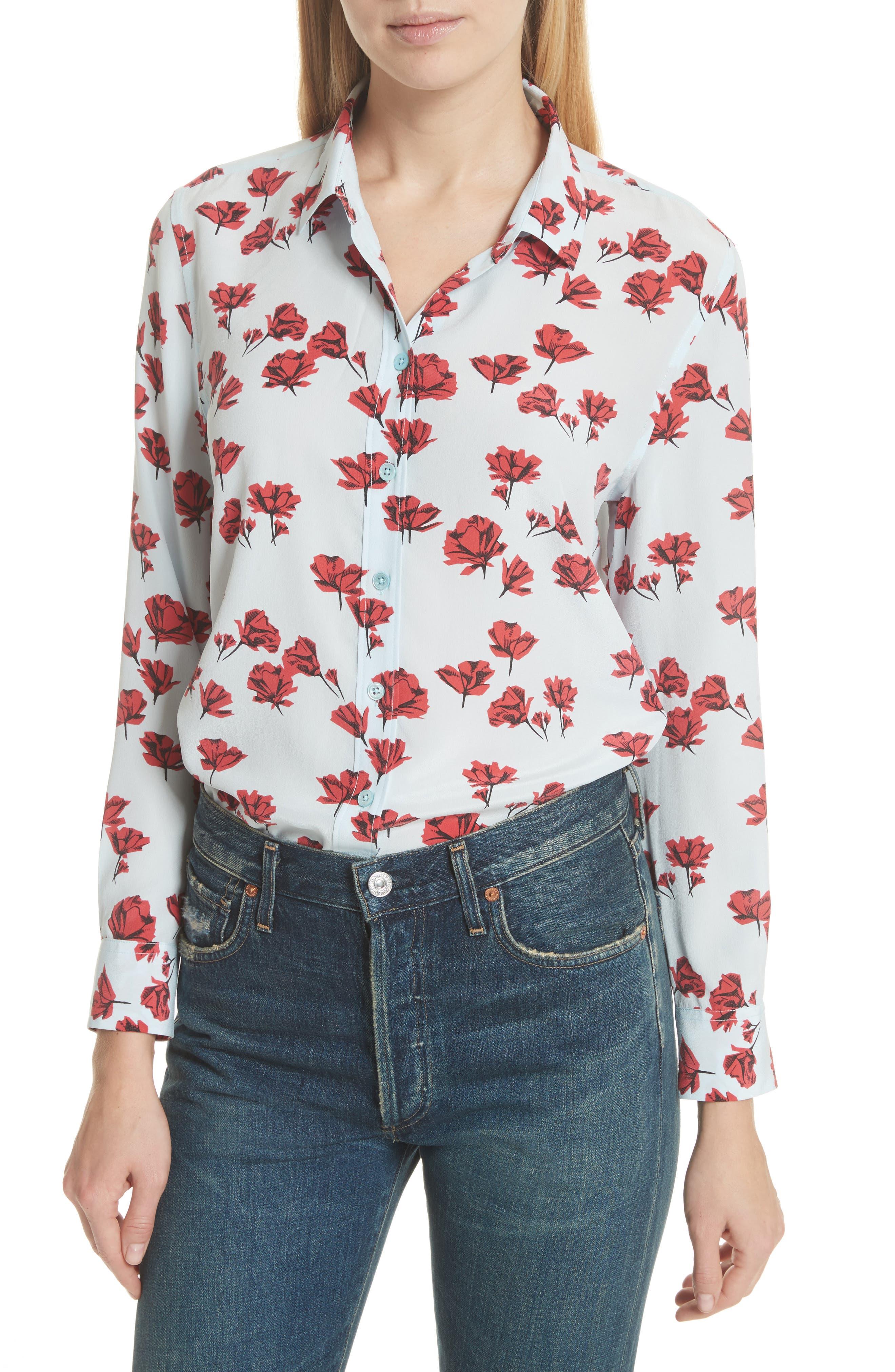 Leema Floral Silk Shirt,                         Main,                         color, Cool Breeze