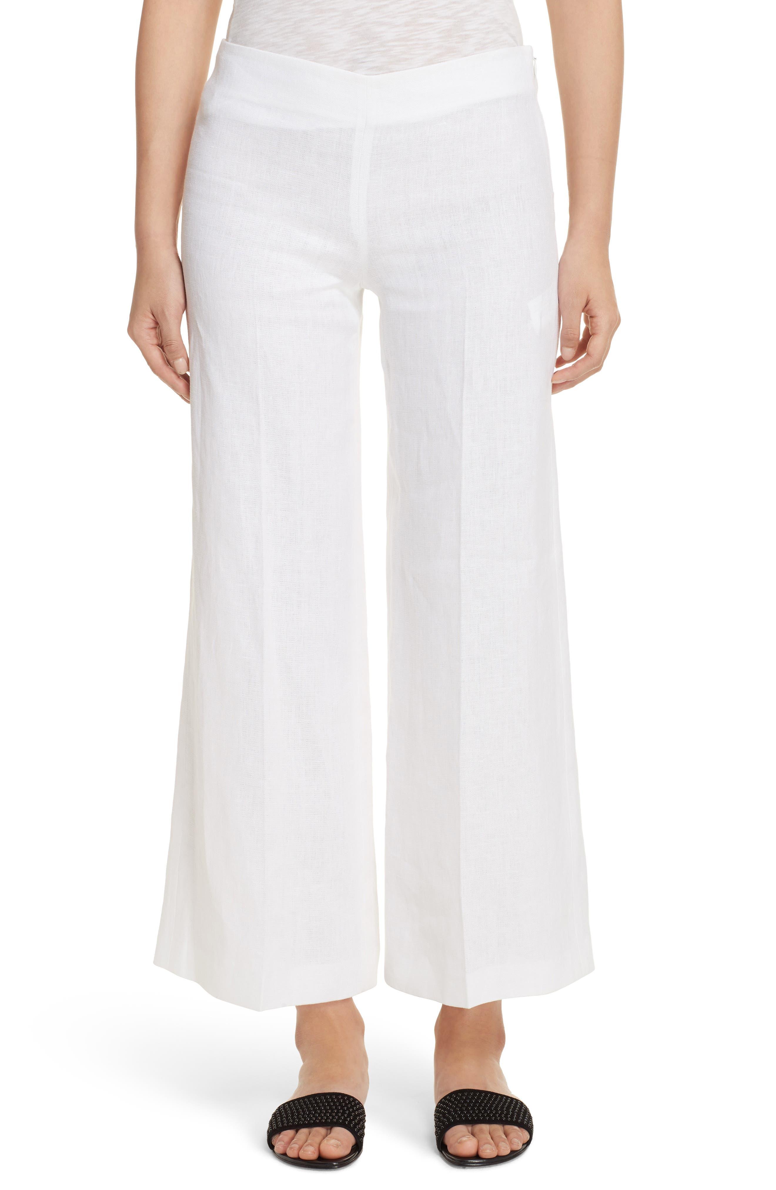 Terena B Linen Wide Leg Pants,                         Main,                         color, White