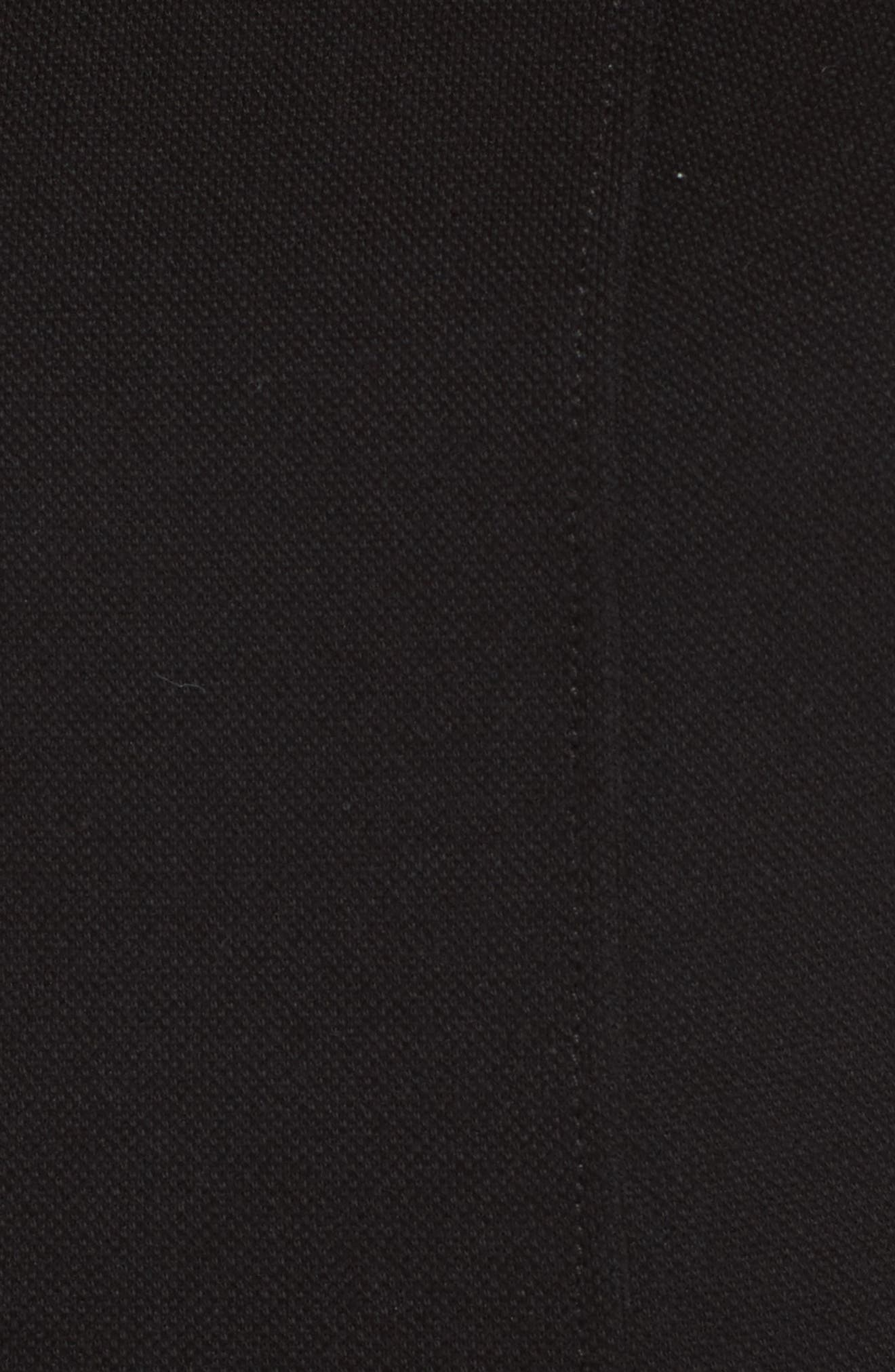 Piqué Fit & Flare Dress,                             Alternate thumbnail 5, color,                             Black