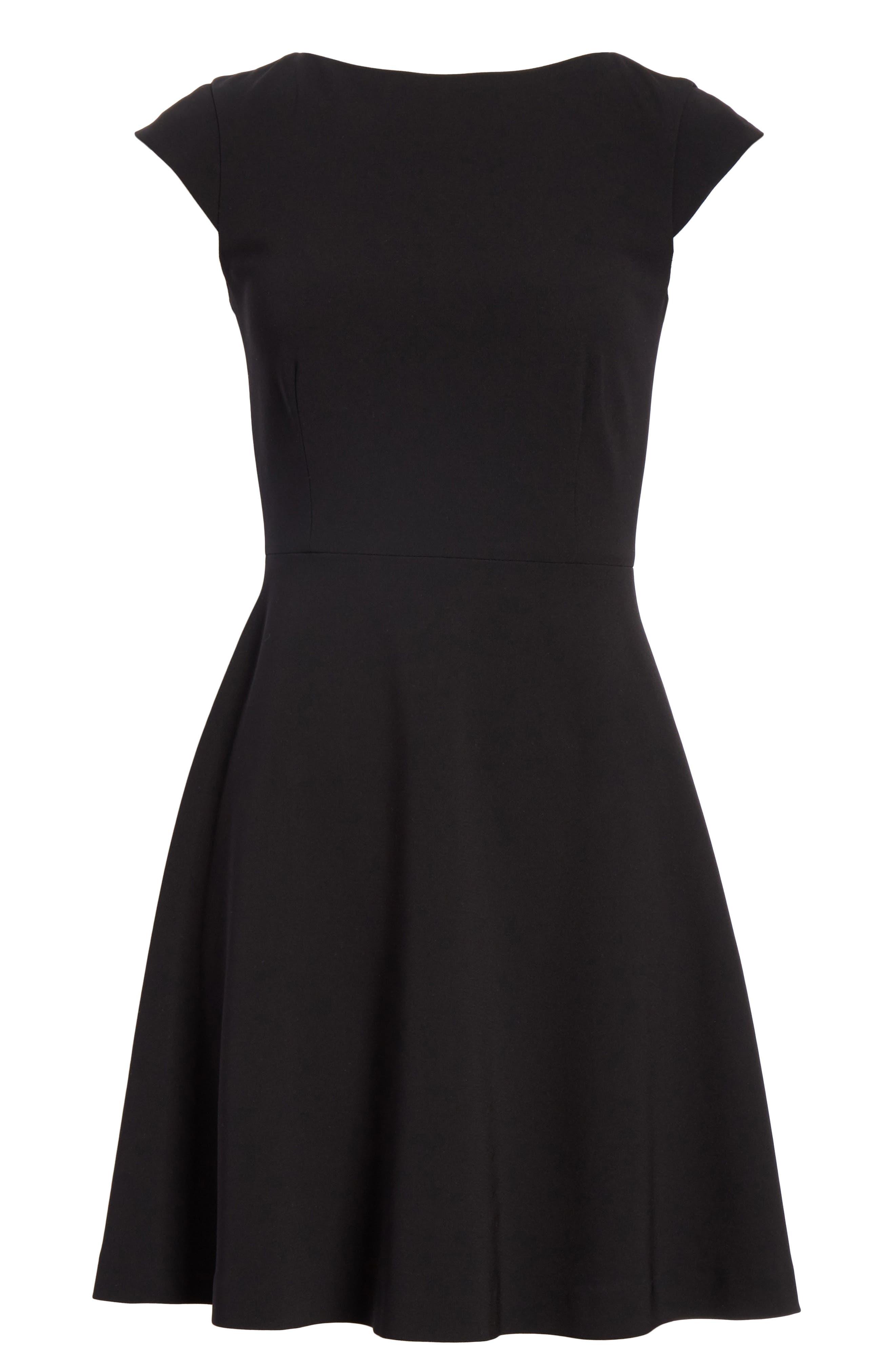 Admiral Crepe Tie Back Dress,                             Alternate thumbnail 6, color,                             Black