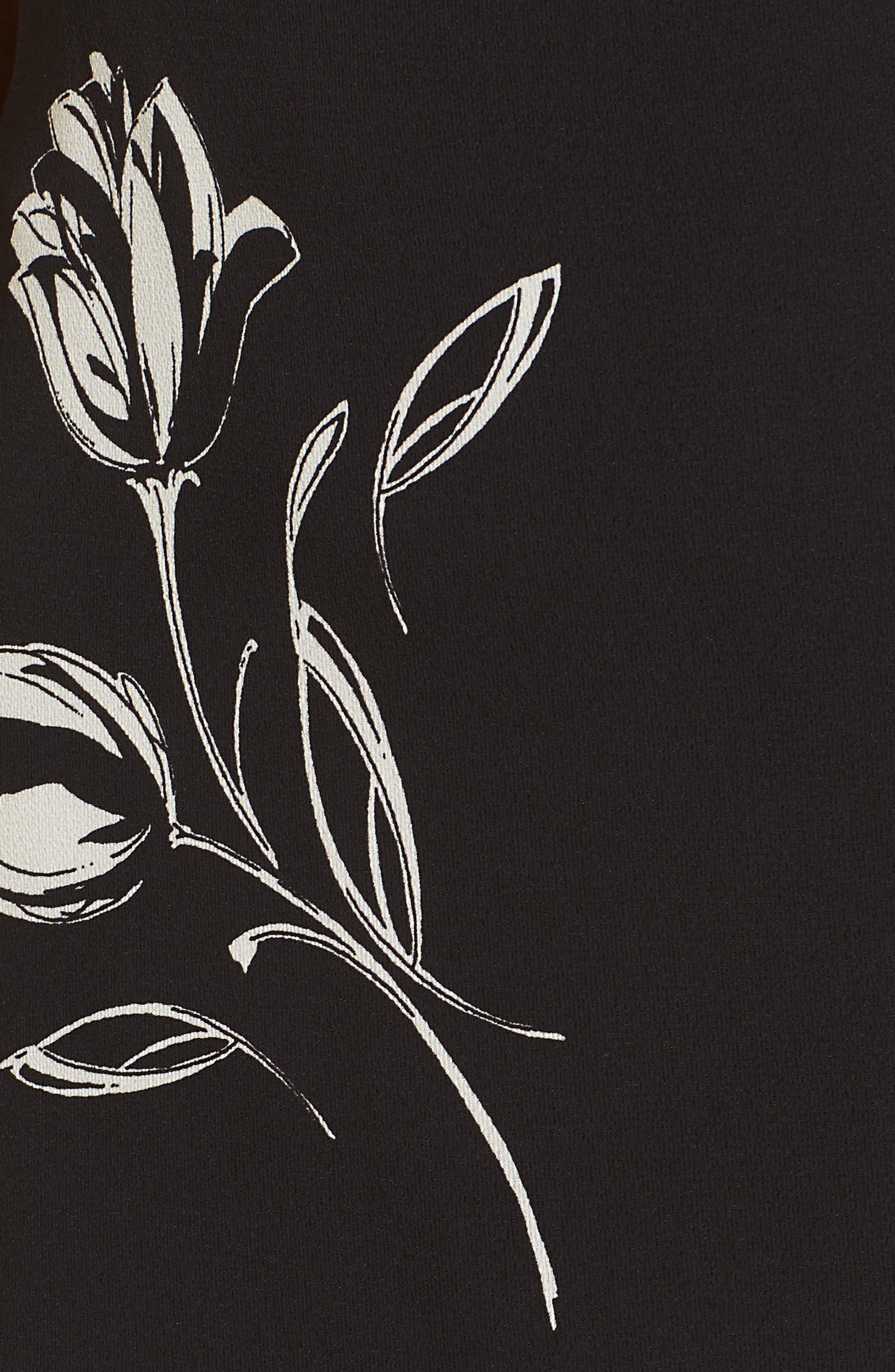Ruffle Trim Tulip Print Dress,                             Alternate thumbnail 5, color,                             Black/ Ivory
