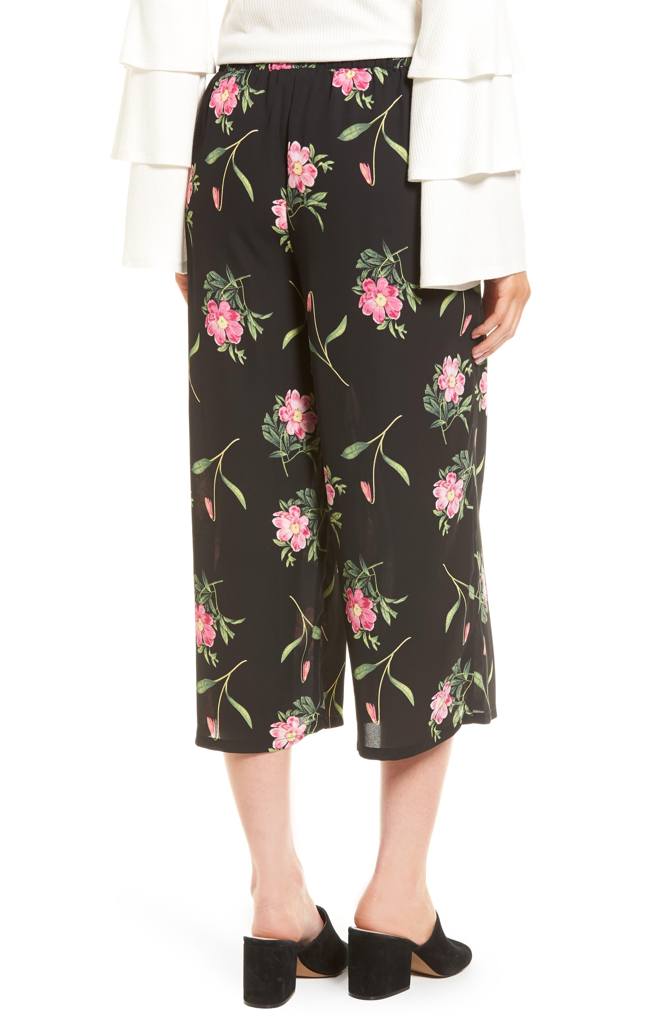 Floral Wide Leg Crop Pants,                             Alternate thumbnail 2, color,                             Black Floral