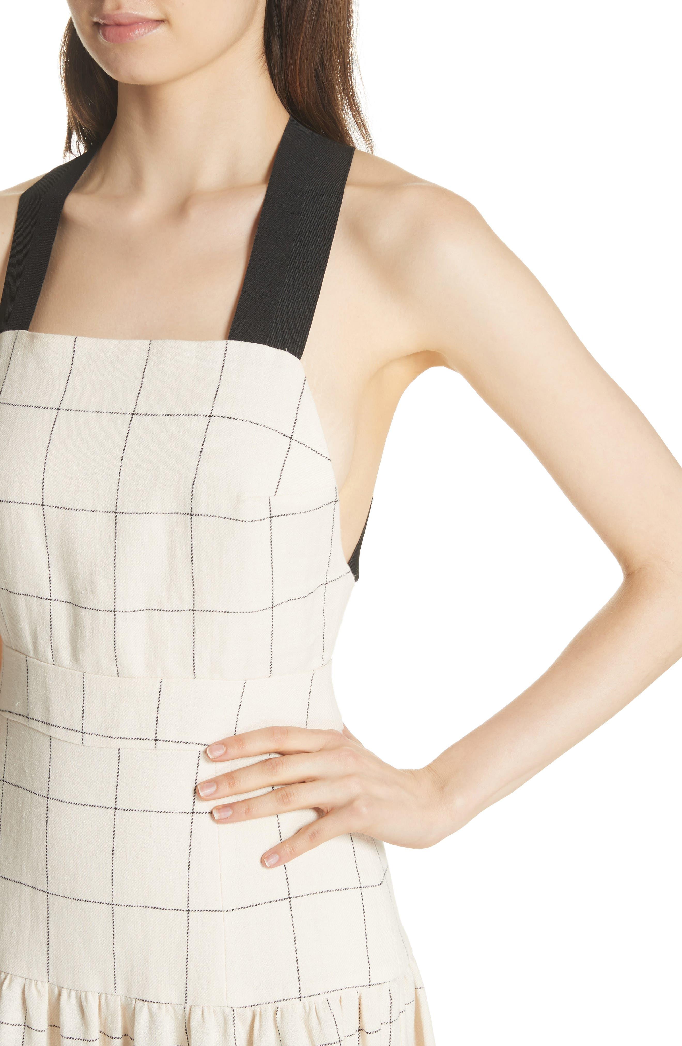 Jacques X-Factor Grid Linen Dress,                             Alternate thumbnail 4, color,                             Cream Grid