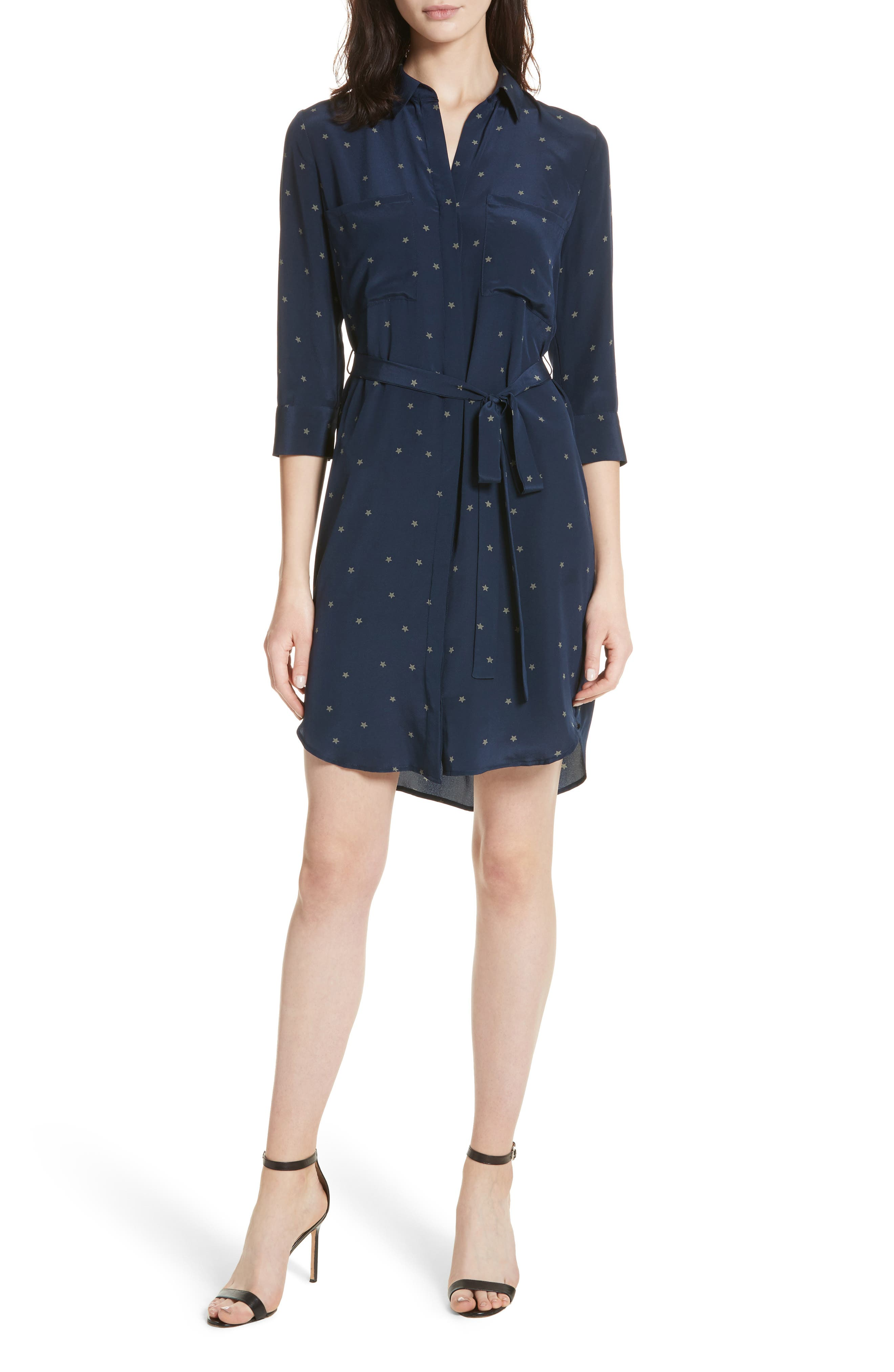 Stella Star Print Silk Shirtdress,                         Main,                         color, Navy/ Beetle Combo