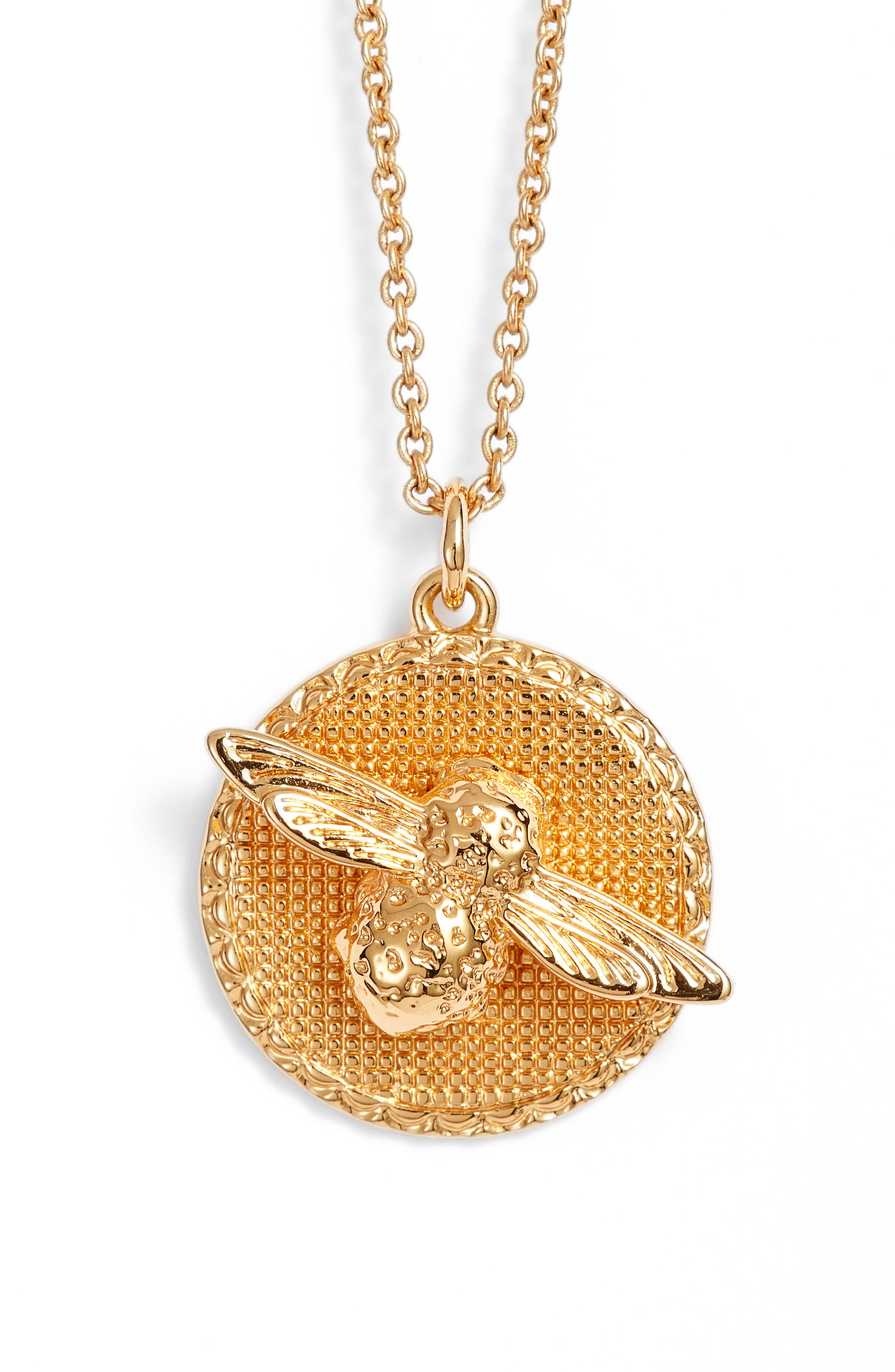 Bee Pendant Necklace,                             Main thumbnail 1, color,                             Gold