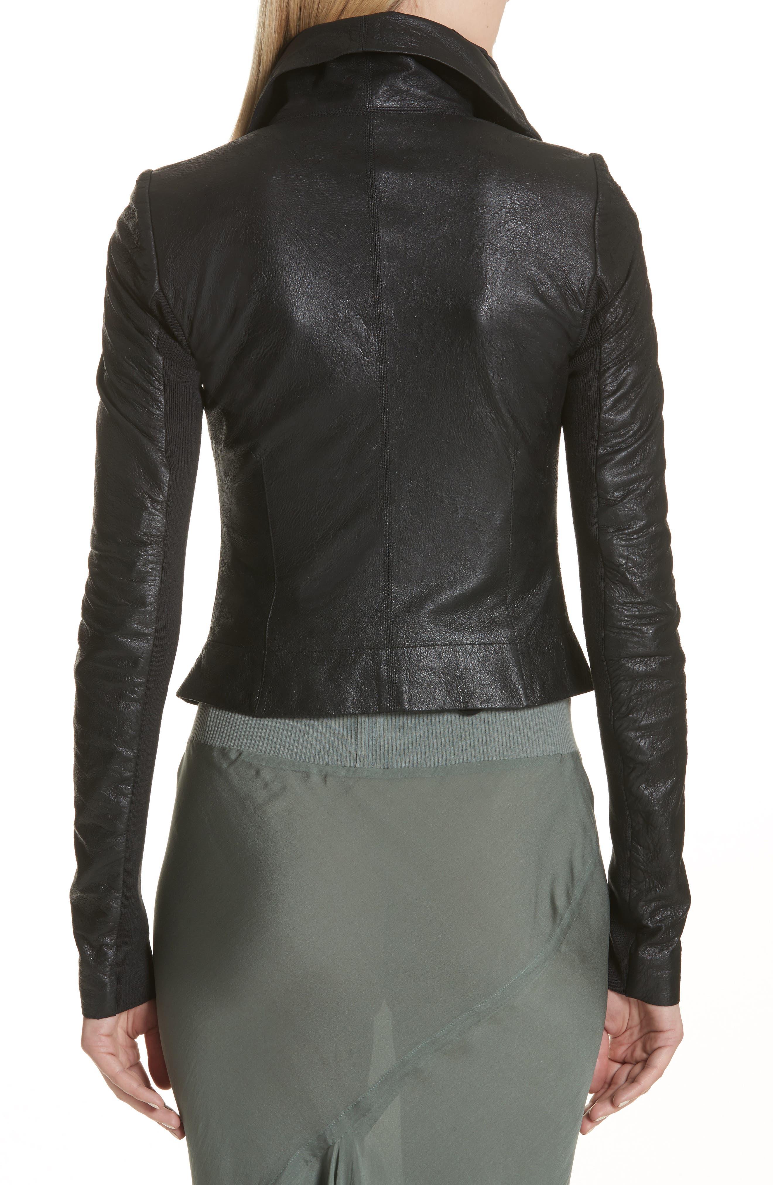 Classic Leather Biker Jacket,                             Alternate thumbnail 2, color,                             Black