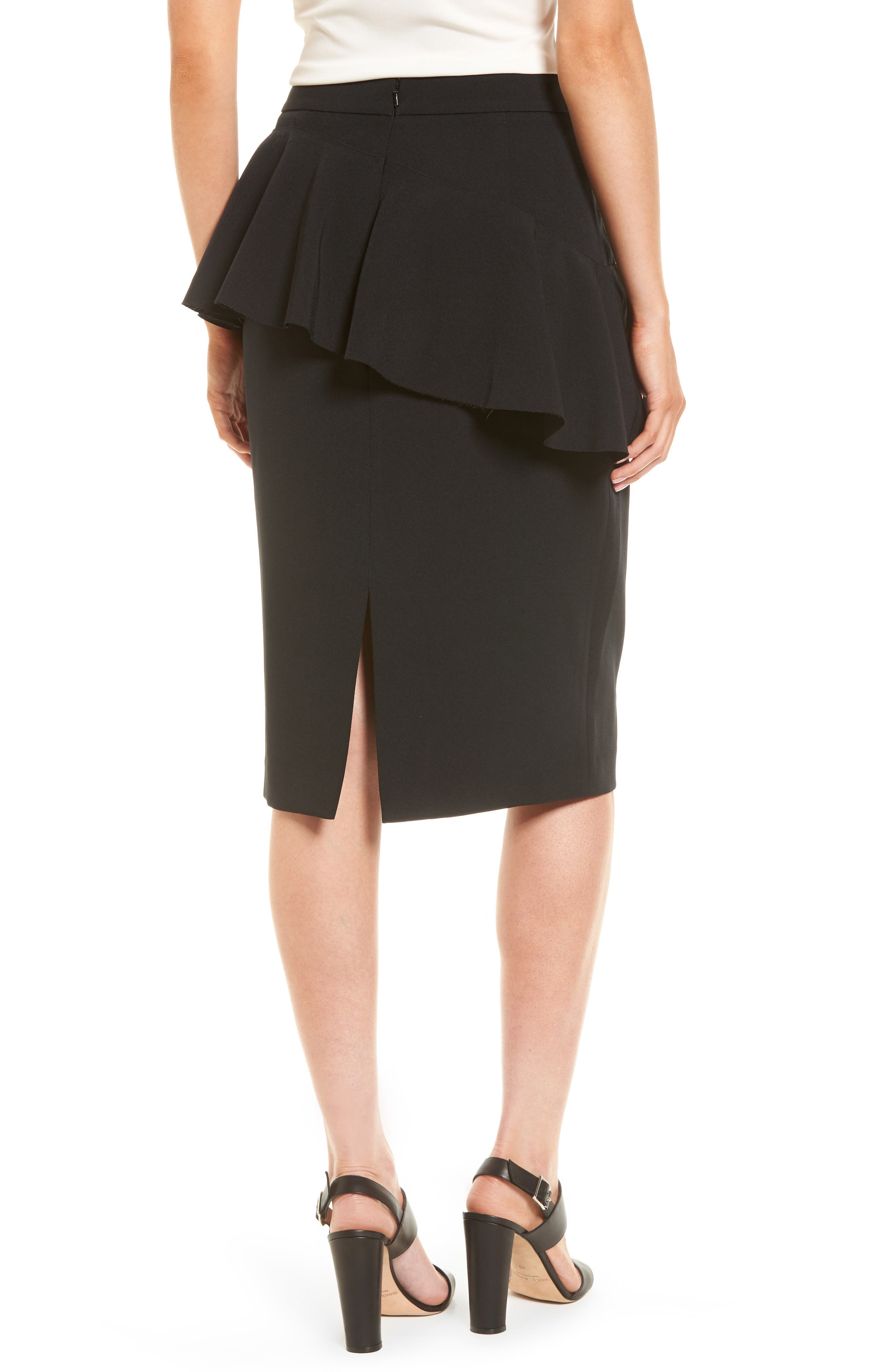 Ruffle Detail Pencil Skirt,                             Alternate thumbnail 2, color,                             Black