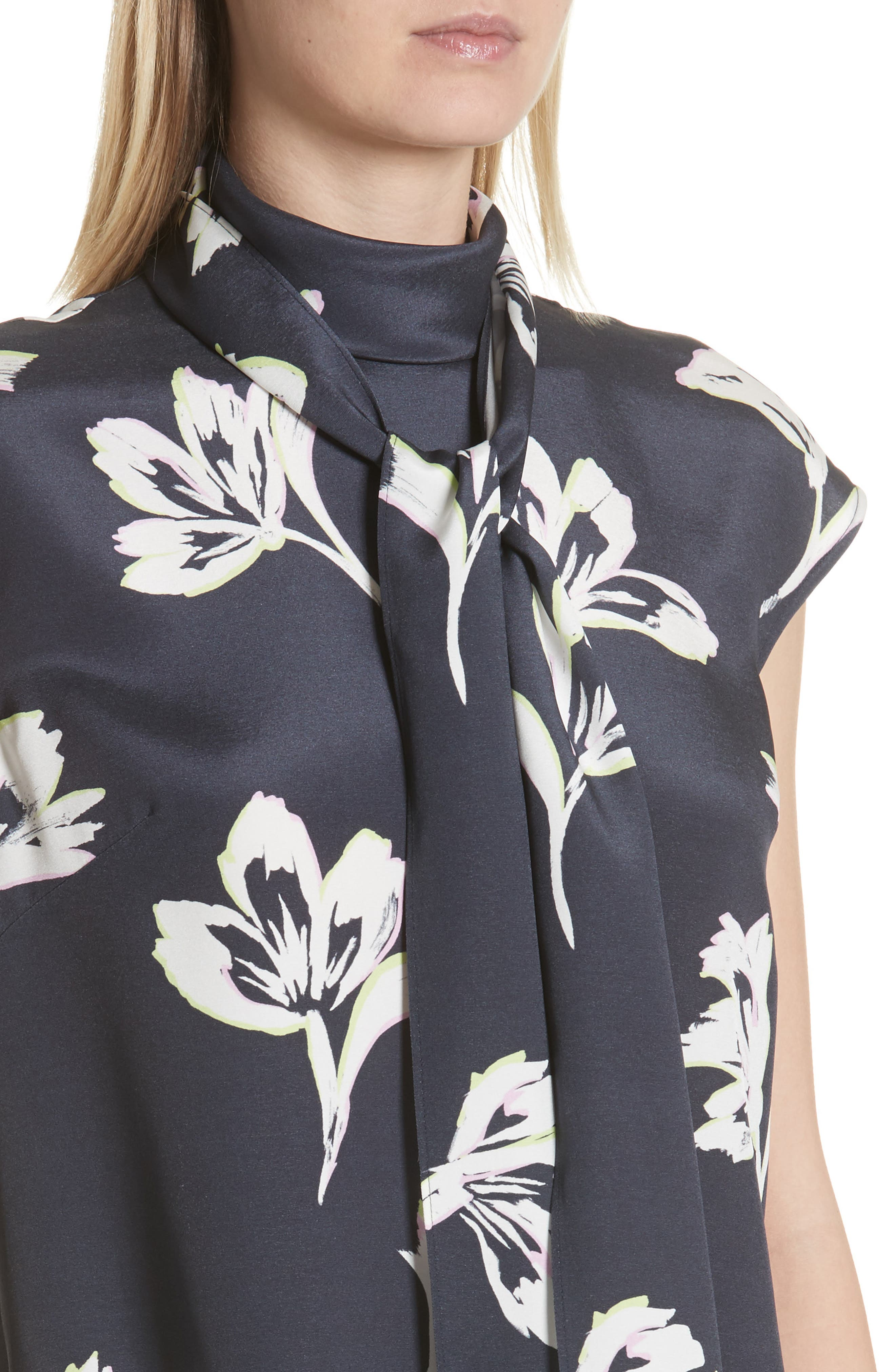 Falling Flower Print Stretch Silk Top,                             Alternate thumbnail 7, color,                             Anthracite Multi