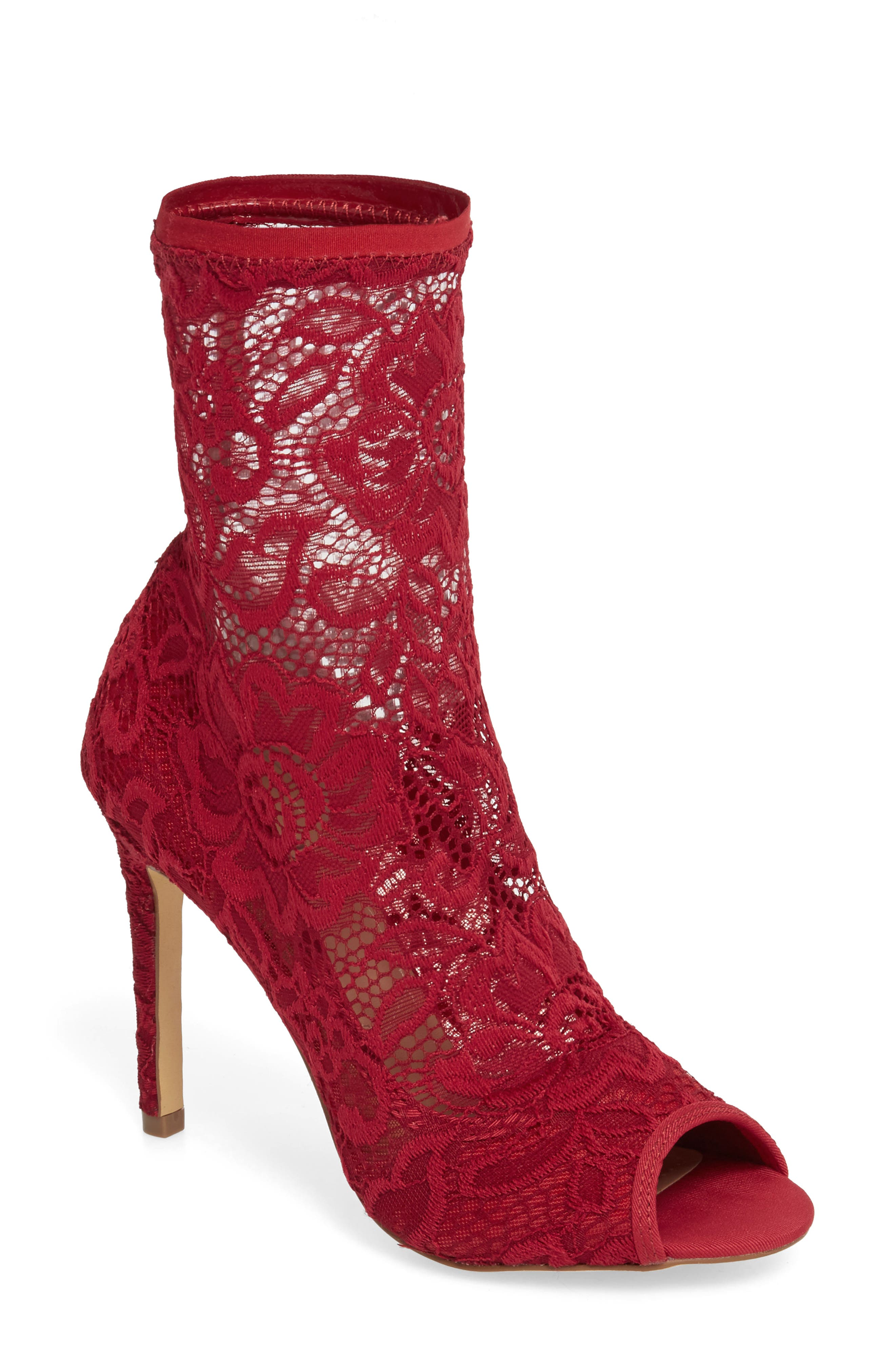 Imaginary Lace Sock Bootie,                             Main thumbnail 1, color,                             Scarlet Fabric