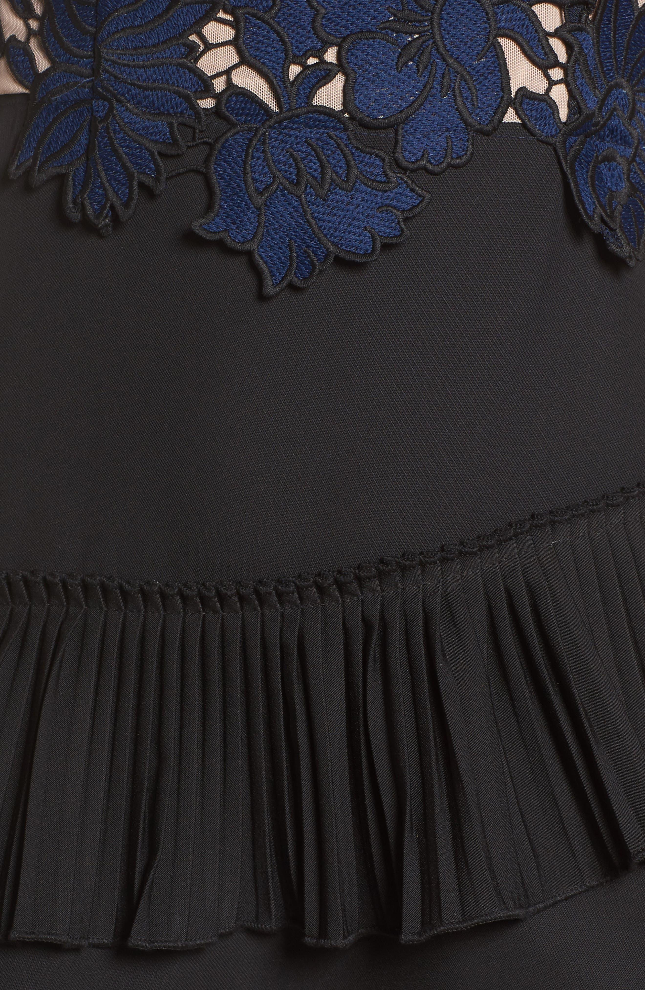 Alexa Lace & Ruffle Tier Dress,                             Alternate thumbnail 6, color,                             Black/ Navy