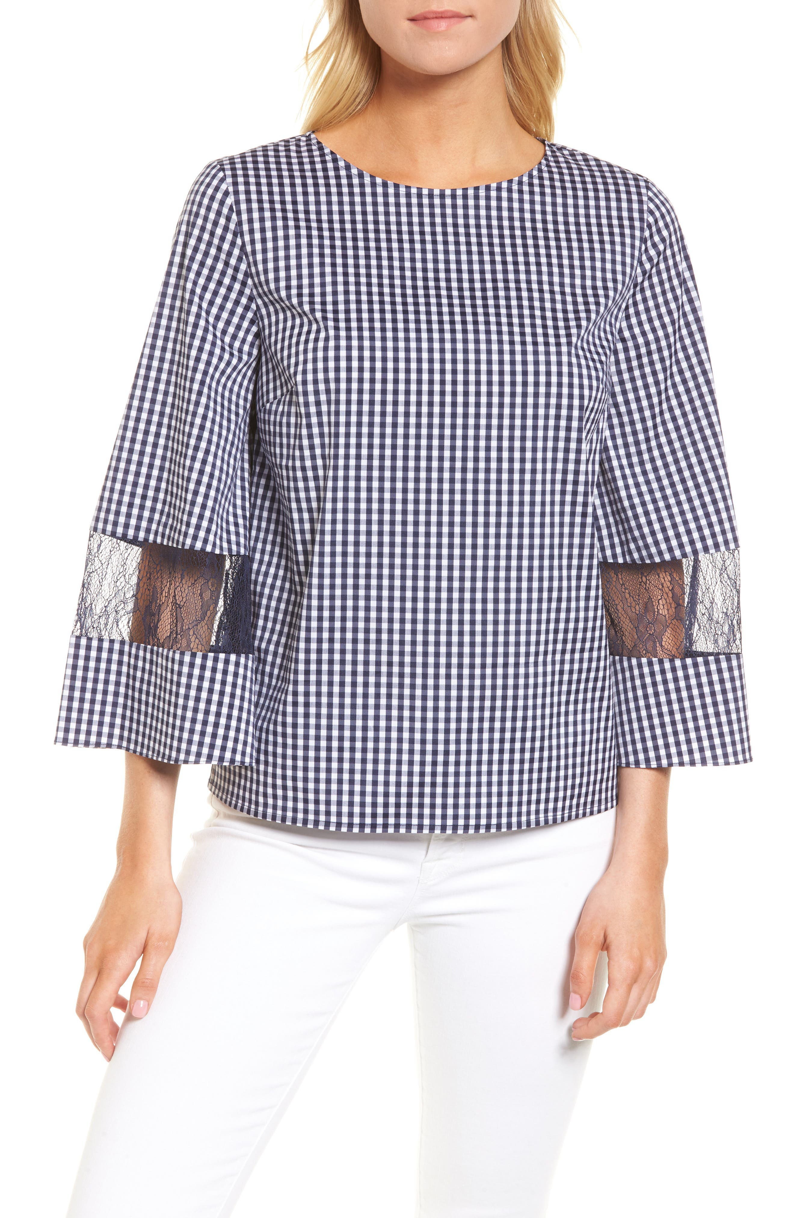 Gingham & Lace Blouse,                         Main,                         color, Navy Evening- White Gingham