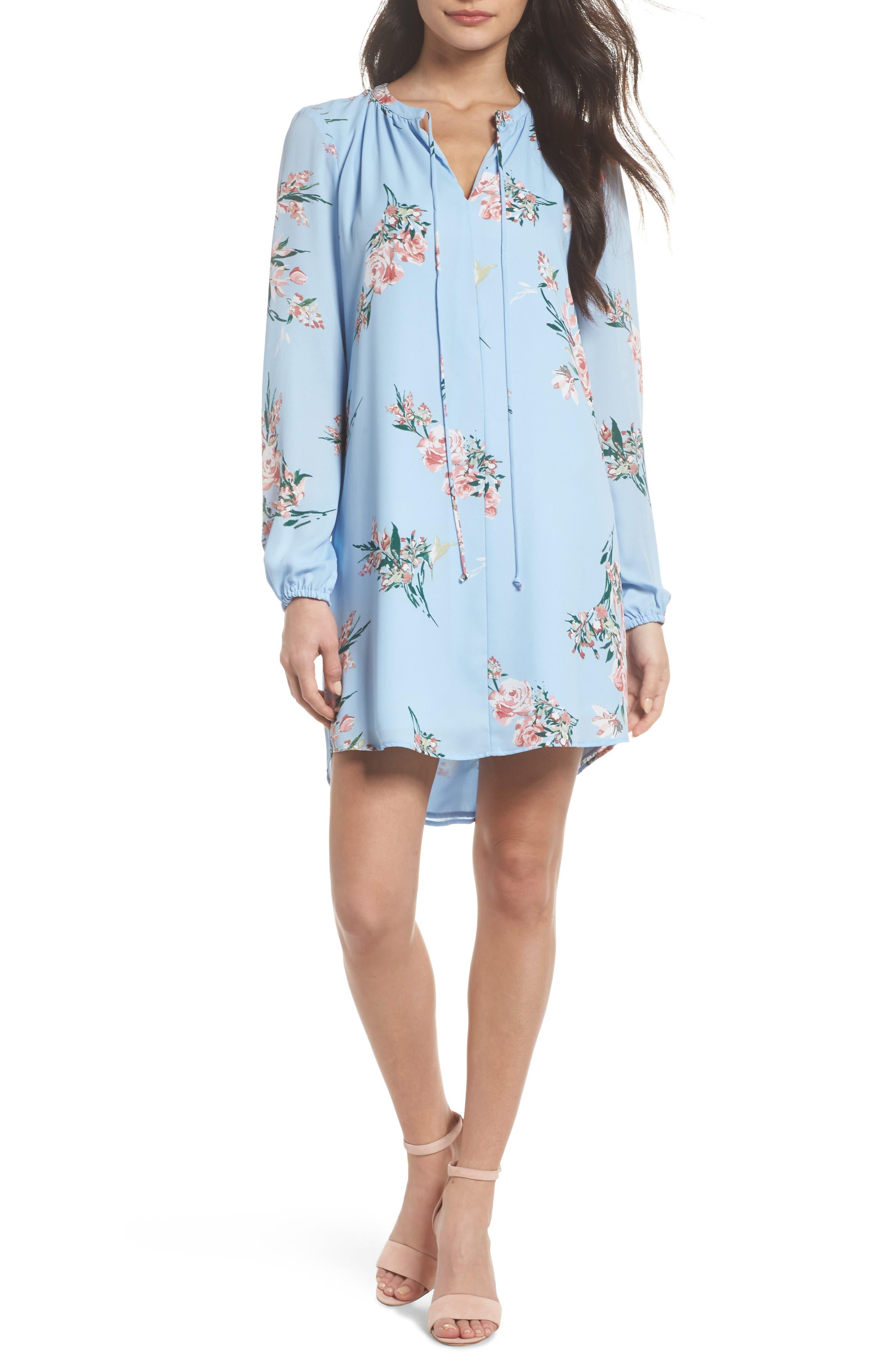 Floral Shift Dress,                         Main,                         color, Blue Floral