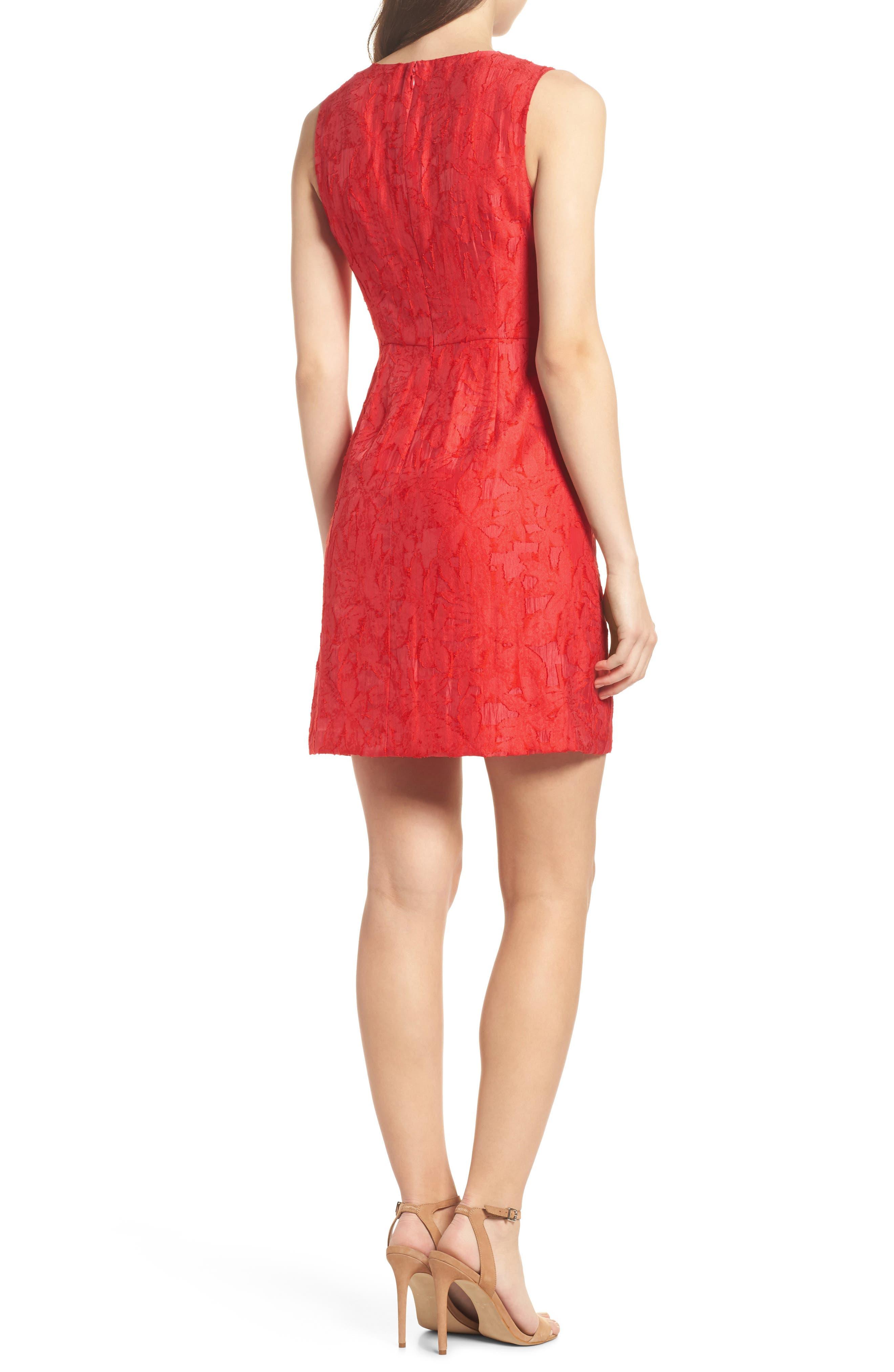Organza Ruffle Sheath Dress,                             Alternate thumbnail 2, color,                             Red