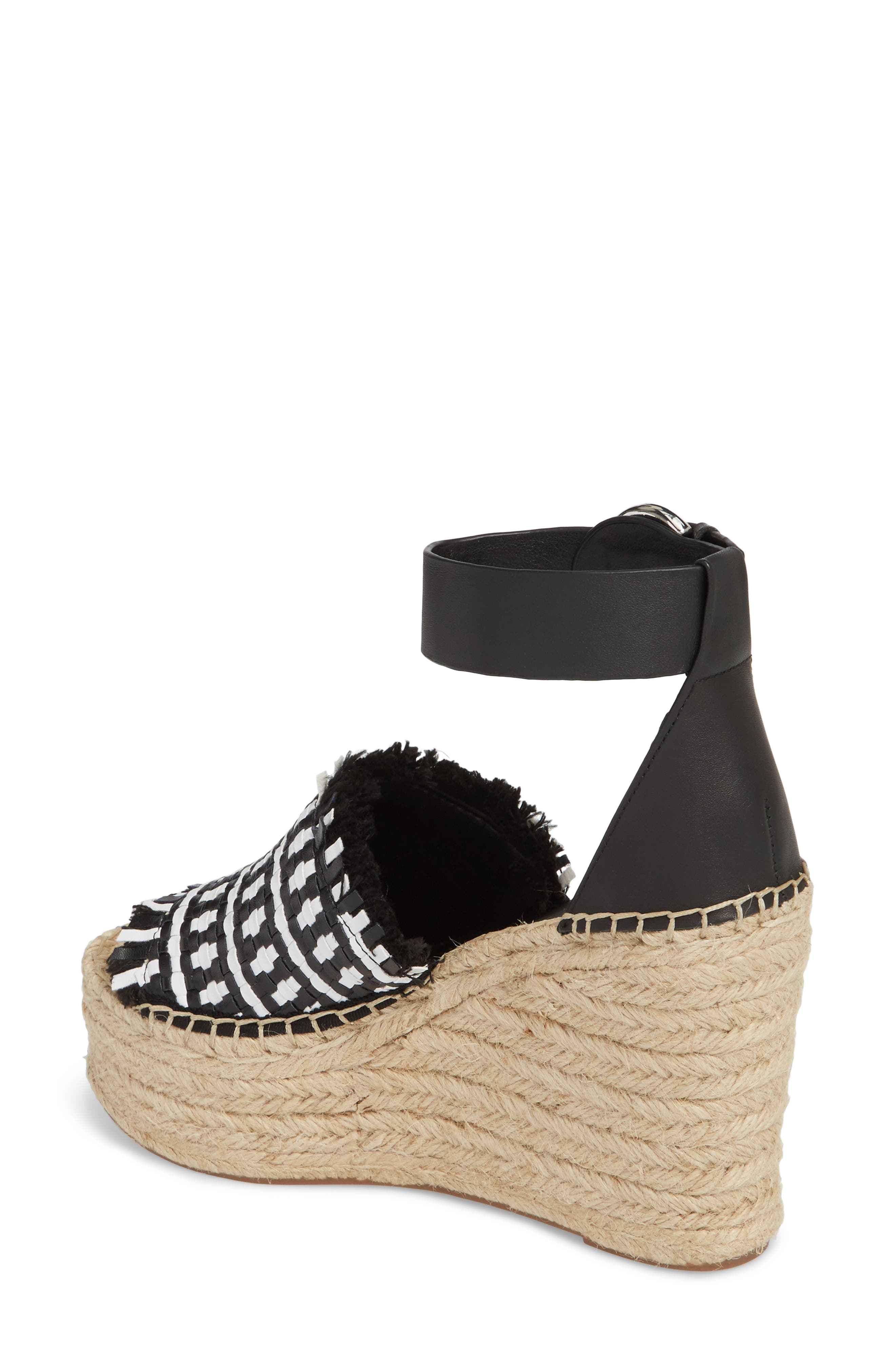 Andrew Espadrille Wedge Sandal,                             Alternate thumbnail 2, color,                             White/ Black Leather