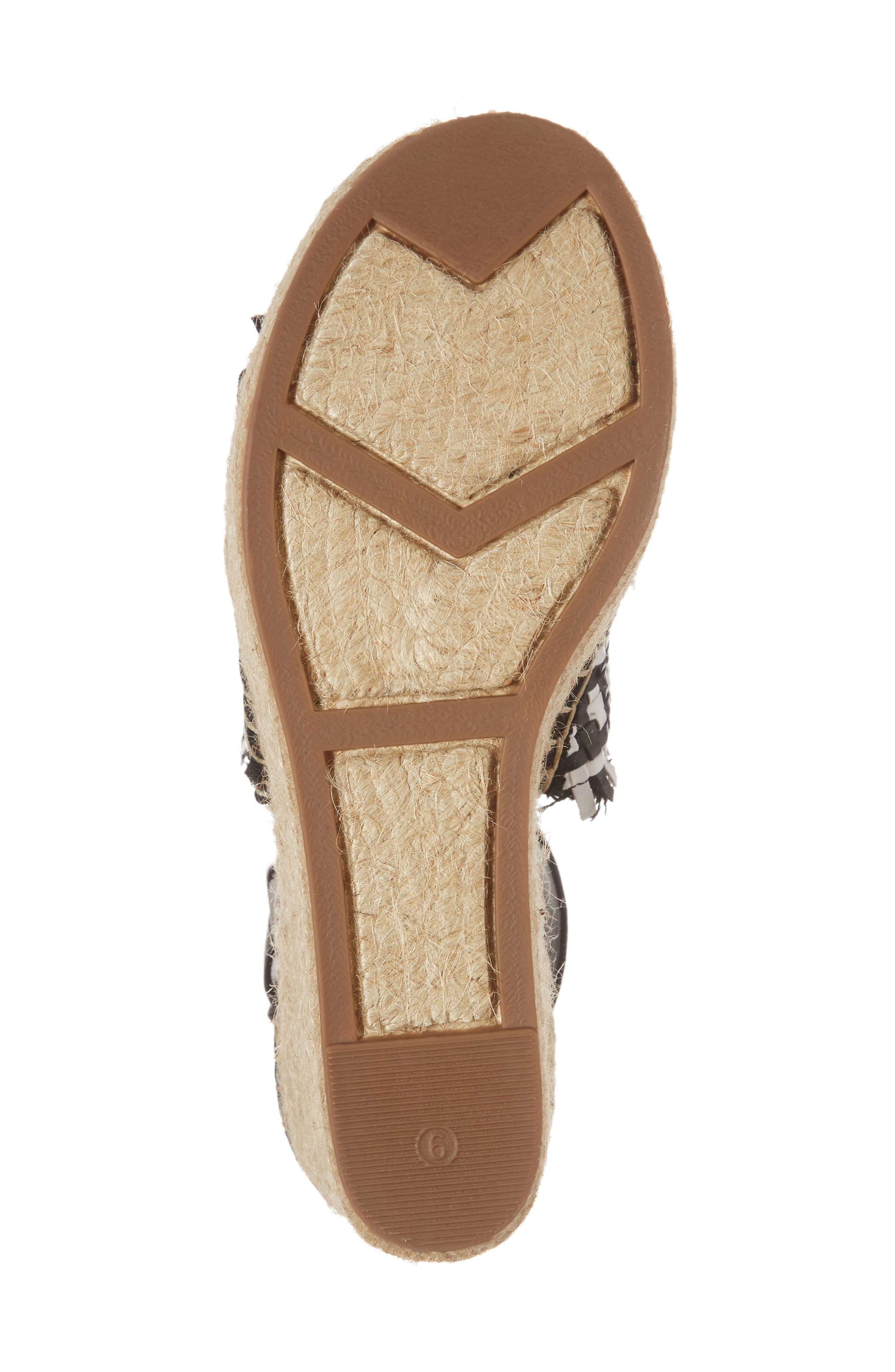 Andrew Espadrille Wedge Sandal,                             Alternate thumbnail 6, color,                             White/ Black Leather
