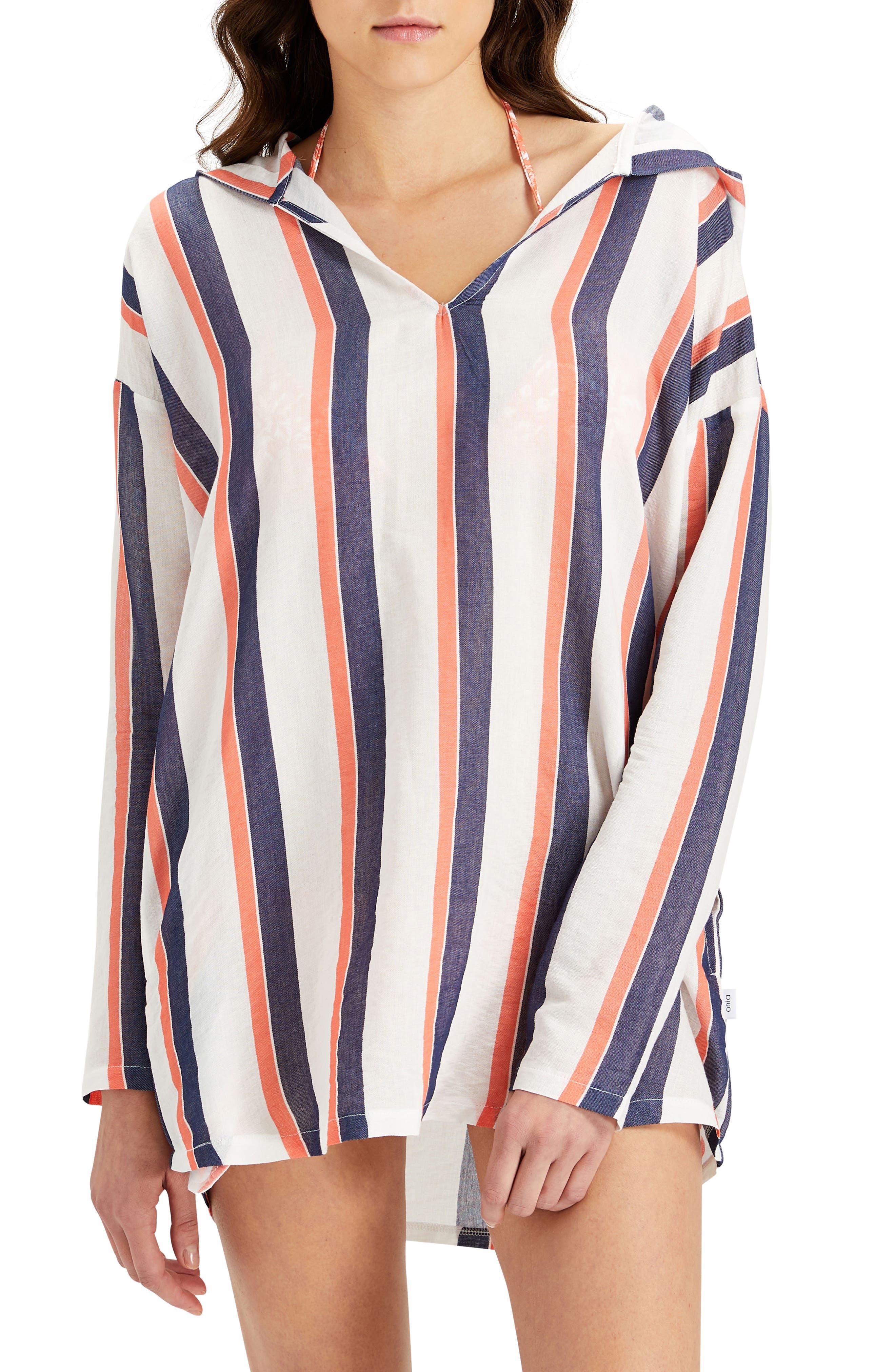 Sophia Stripe Hooded Cover-Up Tunic,                         Main,                         color, Sunrise/ Blue Shadow