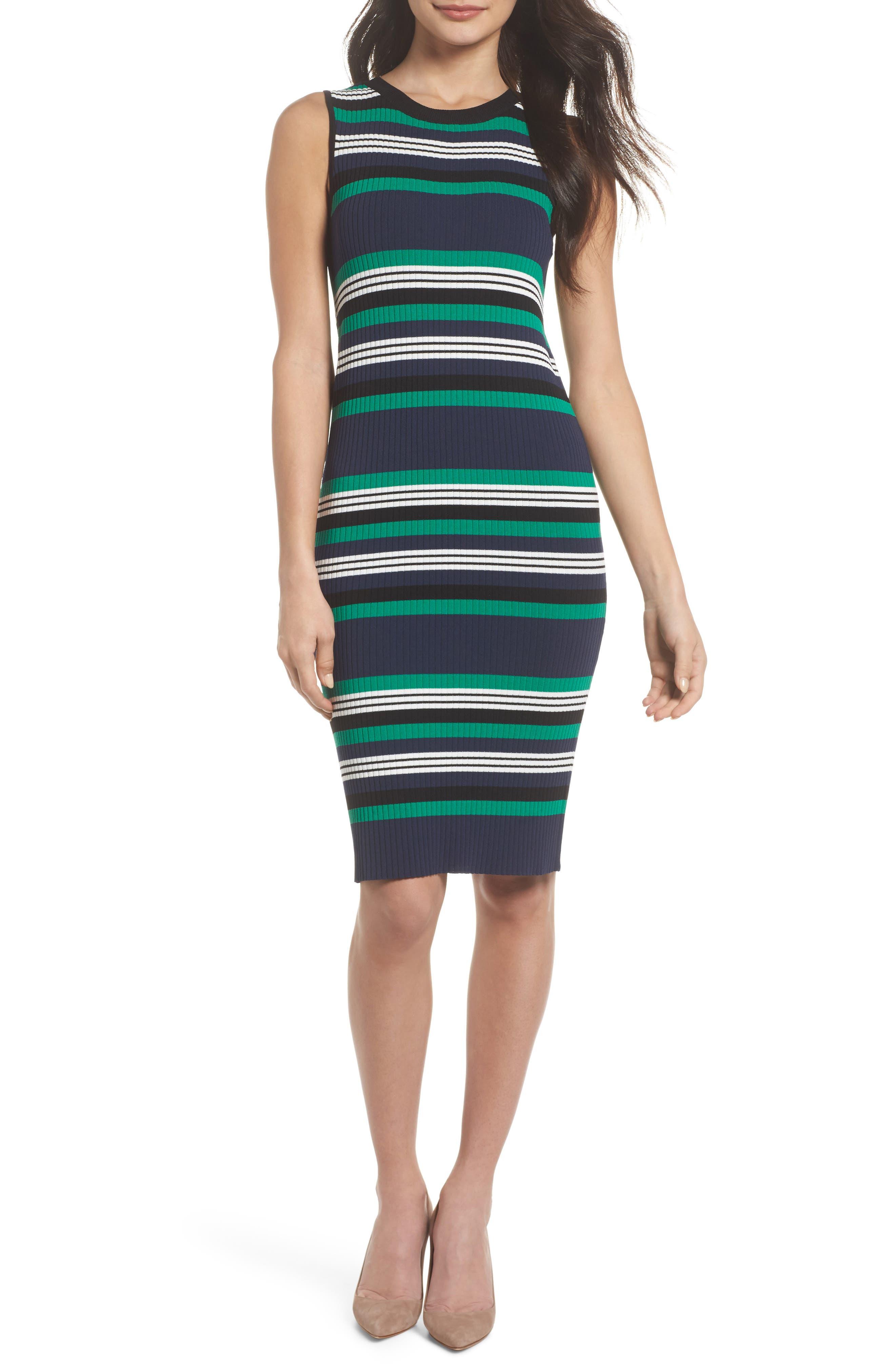 Callie Stripe Body-Con Dress,                             Main thumbnail 1, color,                             Navy