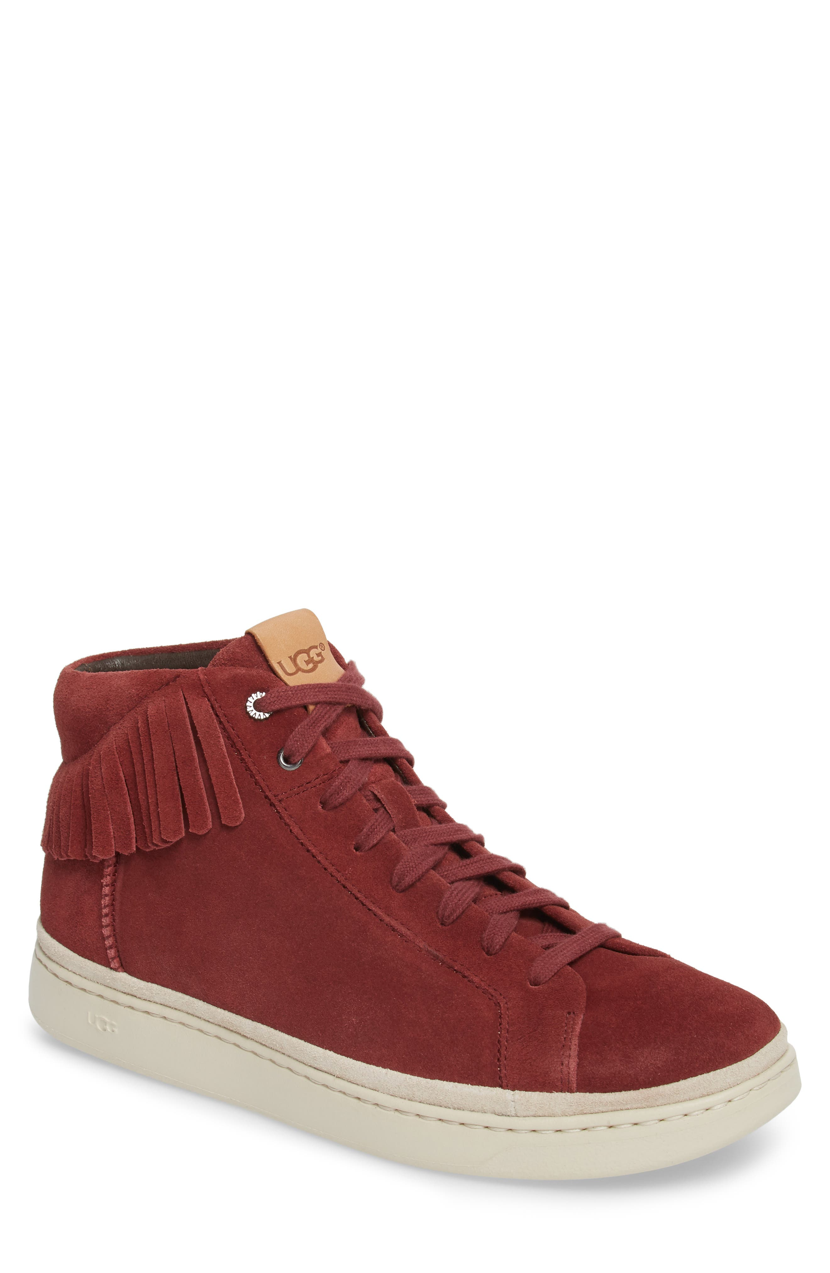 Brecken Fringe High-Top Sneaker,                             Main thumbnail 1, color,                             Pinot Noir Leather