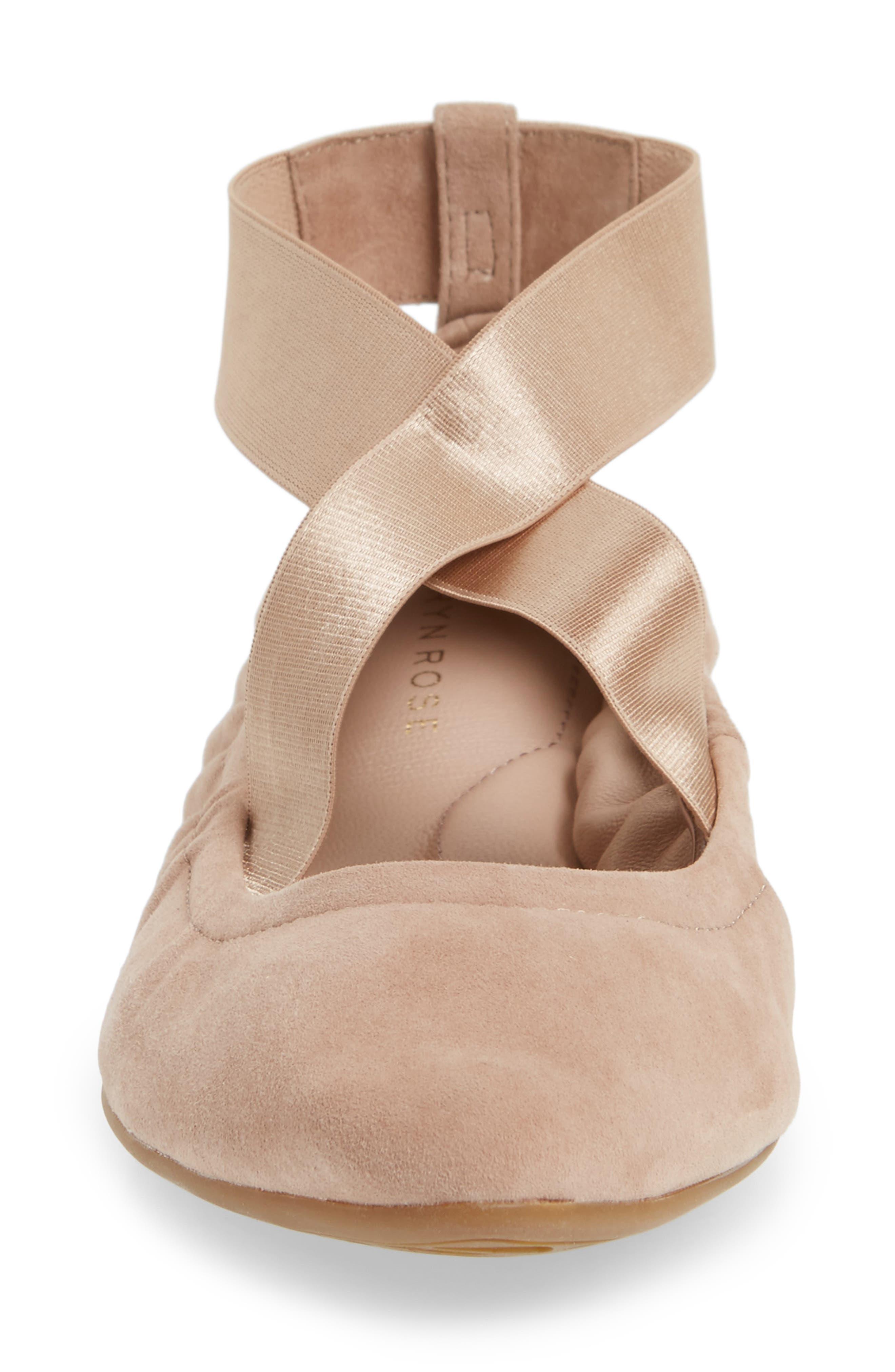 Edina Strappy Ballet Flat,                             Alternate thumbnail 4, color,                             Soft Beige Suede
