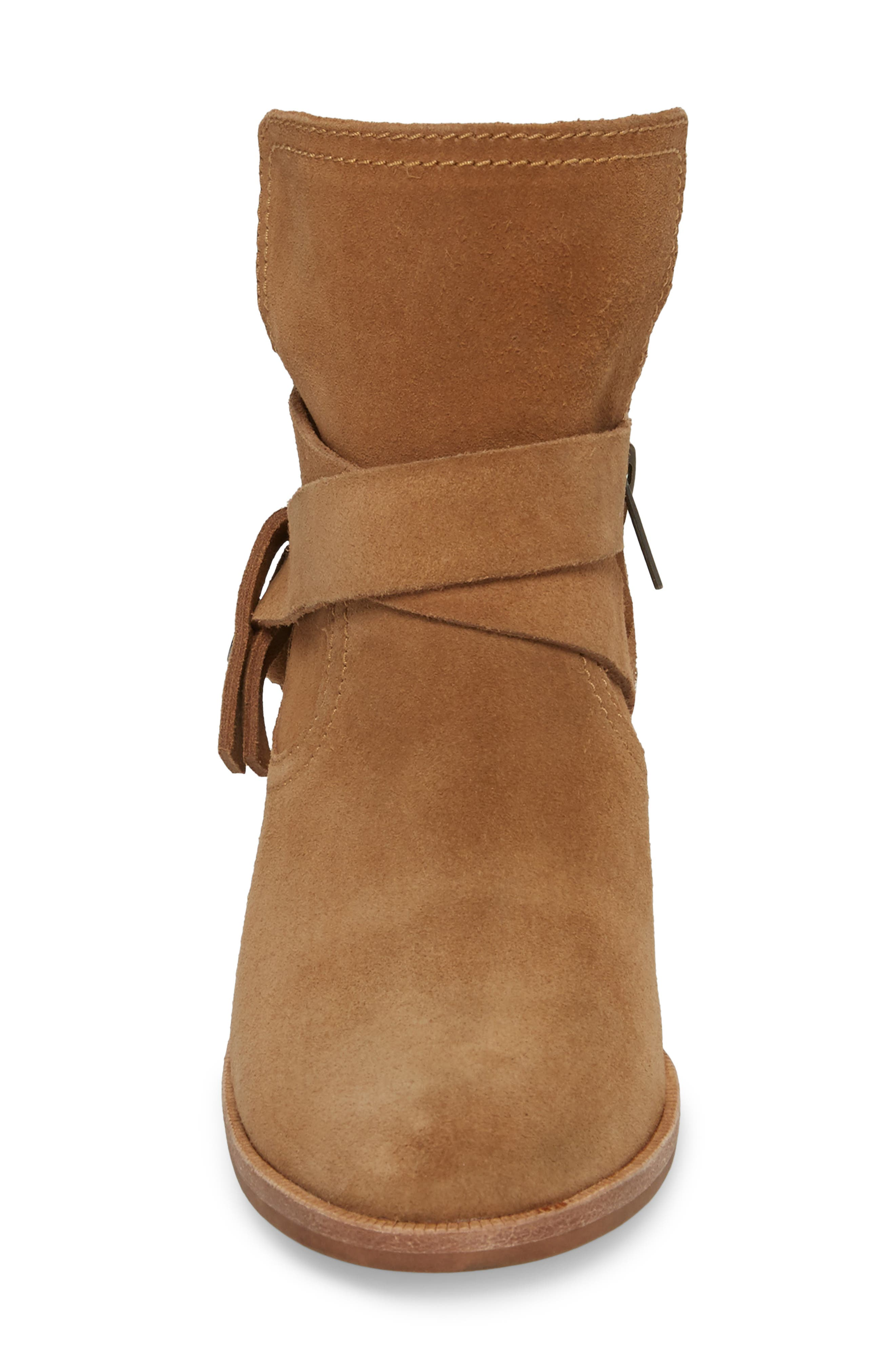 Elora Bootie,                             Alternate thumbnail 4, color,                             Chestnut Suede