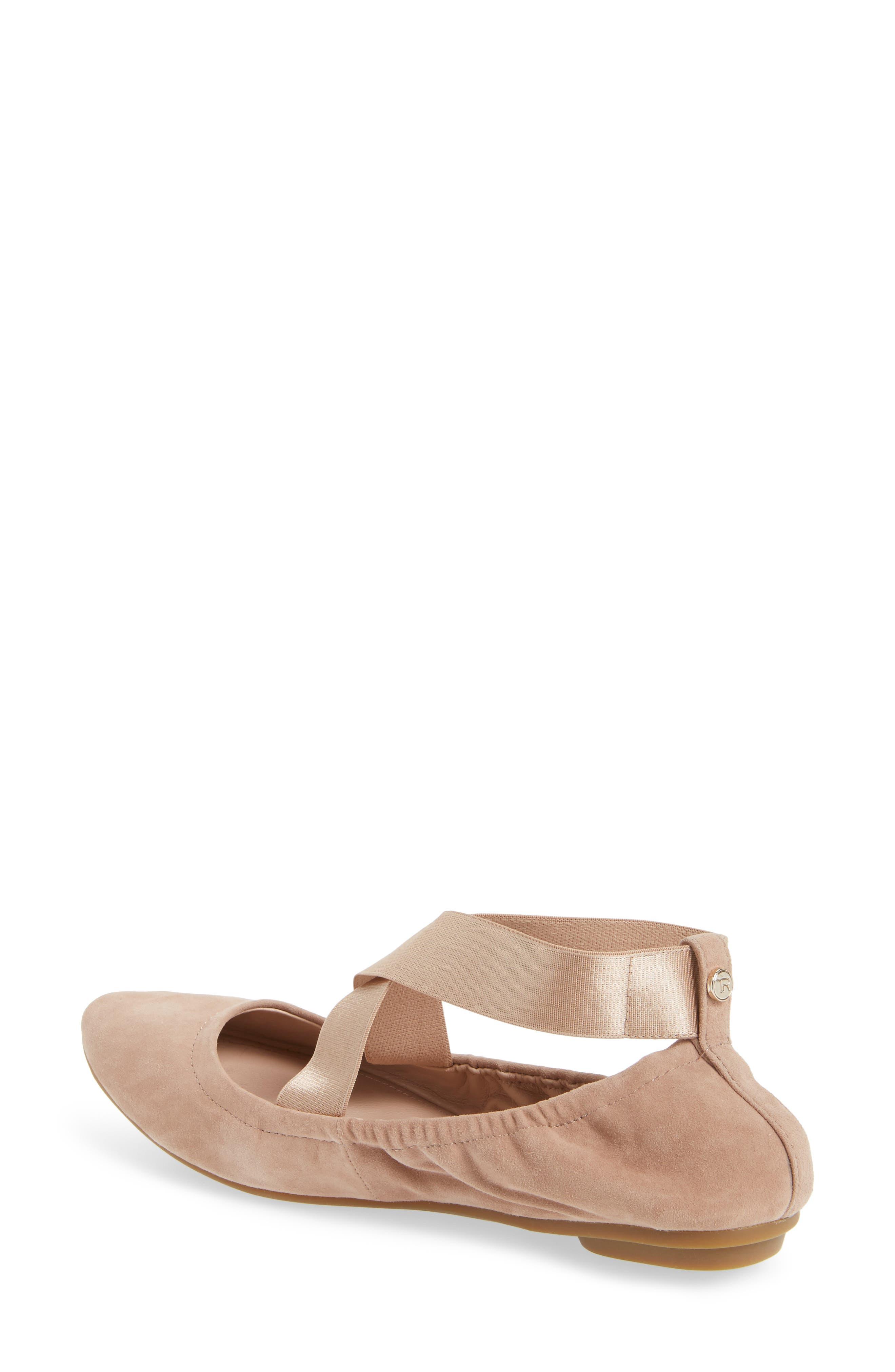 Edina Strappy Ballet Flat,                             Alternate thumbnail 2, color,                             Soft Beige Suede
