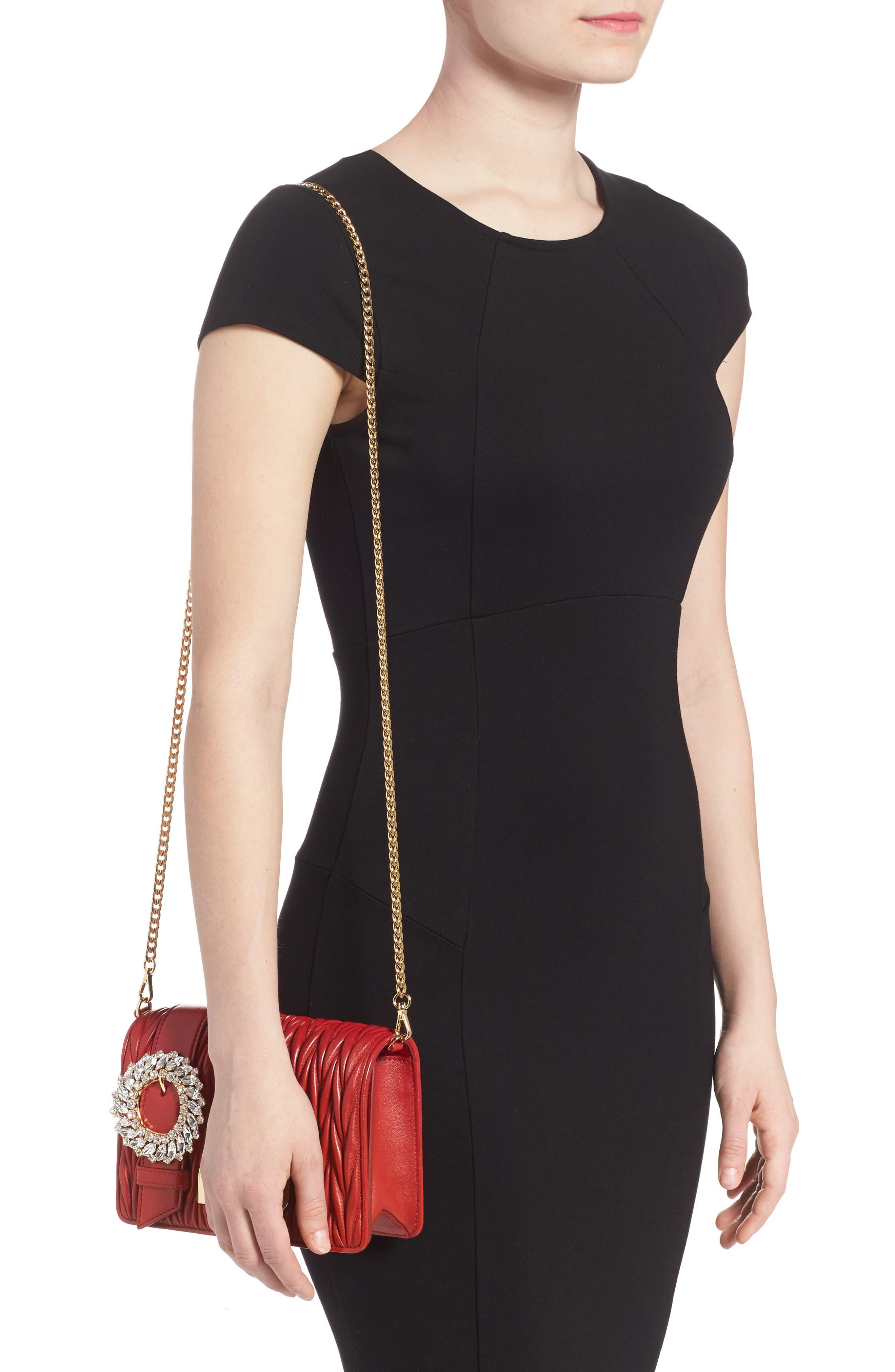 Matelassé Leather Shoulder Bag,                             Alternate thumbnail 2, color,                             Fuoco