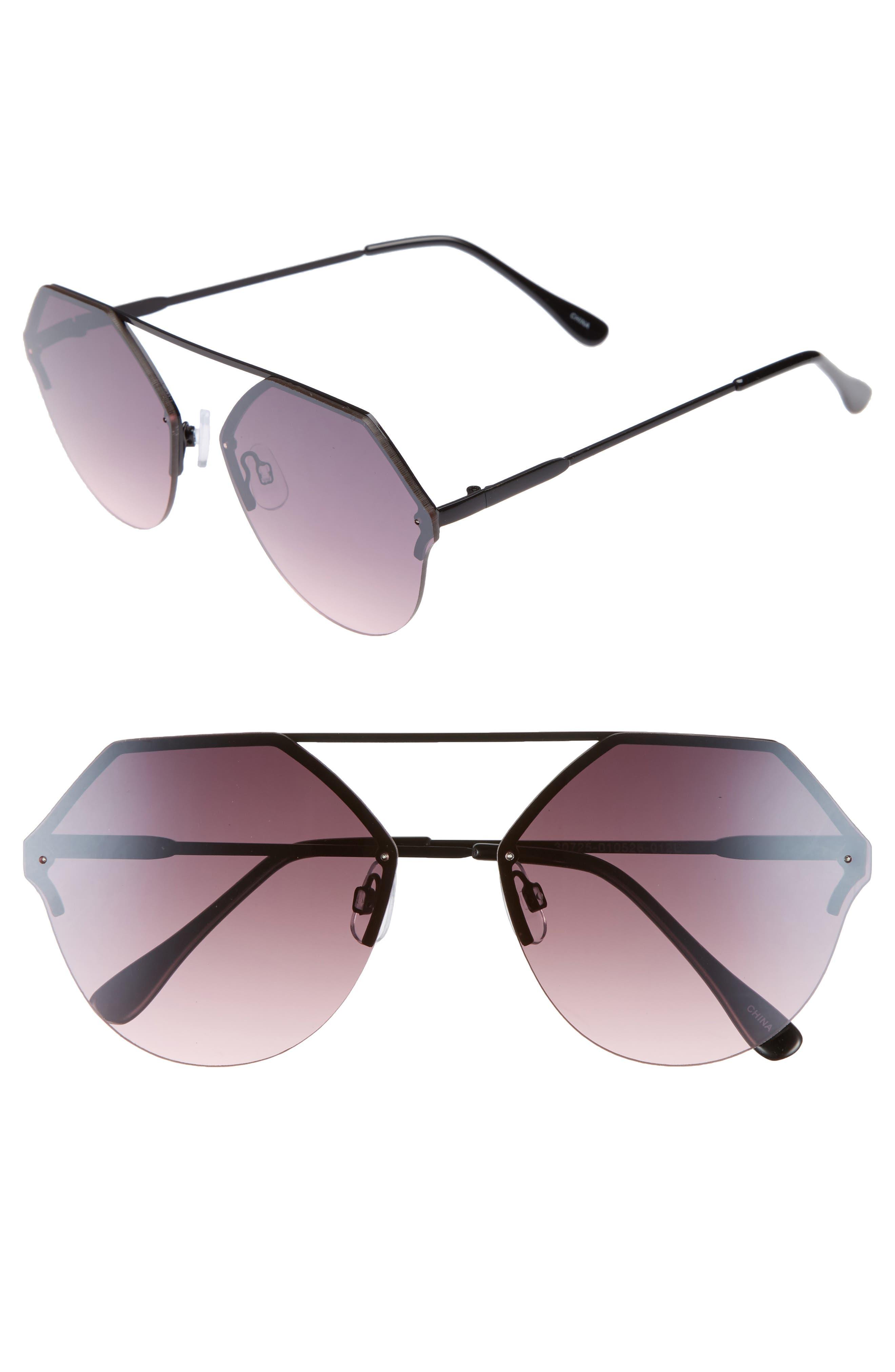 Metal Flat Brow Bar Geometric Sunglasses,                         Main,                         color, Black