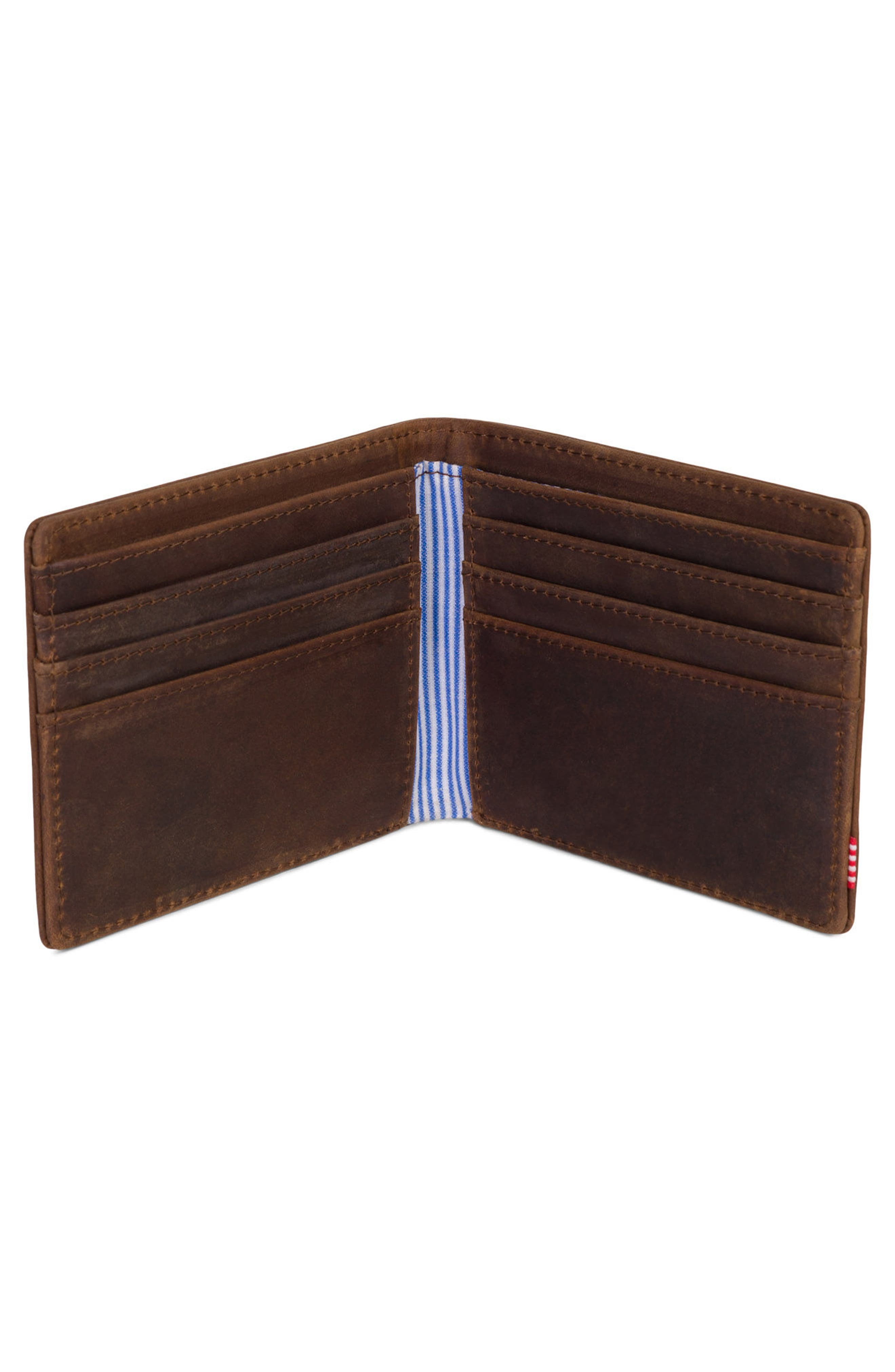 Roy Leather Wallet,                             Alternate thumbnail 2, color,                             Brown