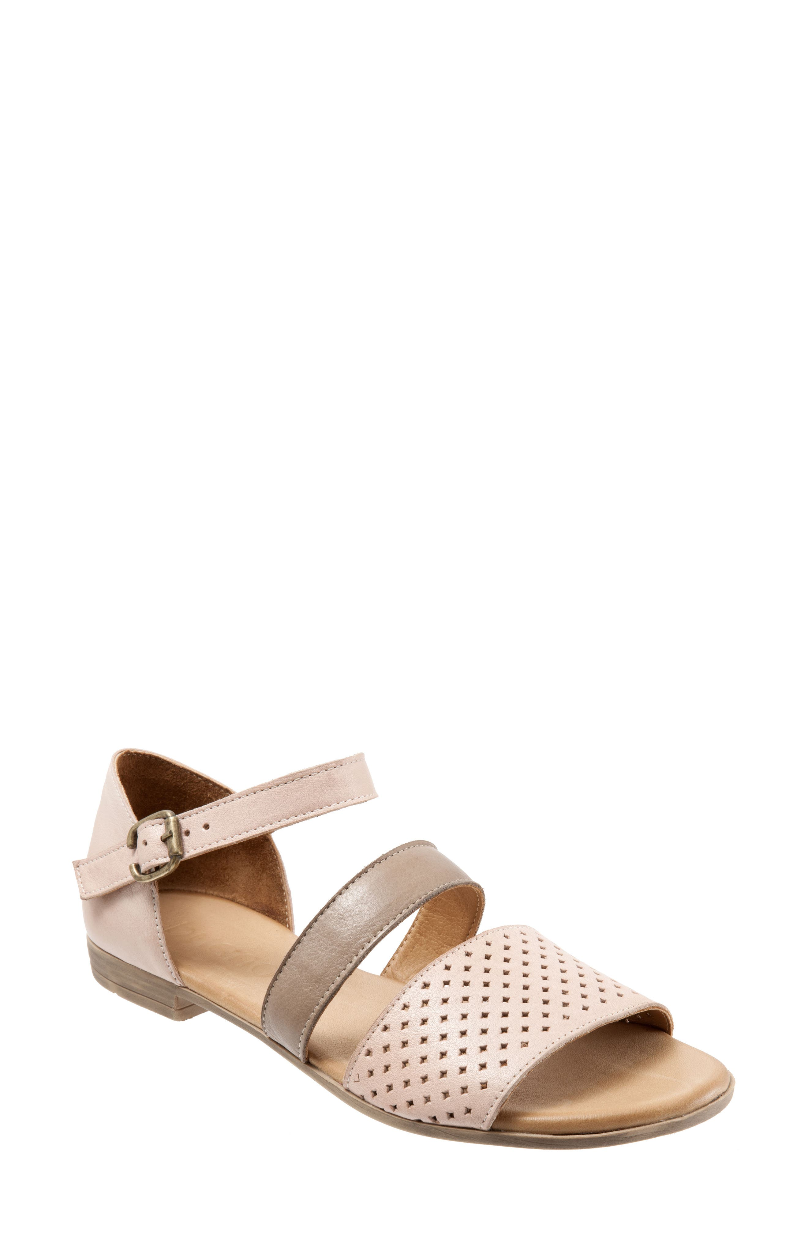 Janet Perforated Flat Sandal,                         Main,                         color, Pale Pink Leather