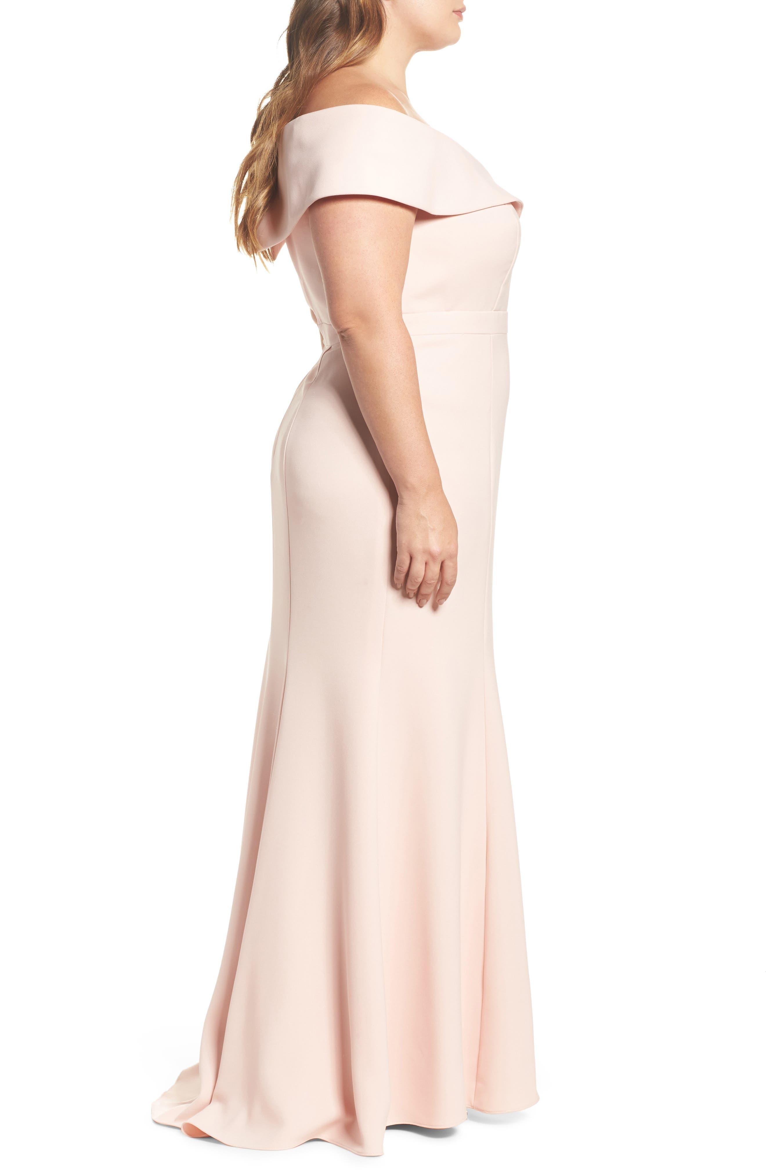 Off the Shoulder Front Slit Crepe Dress,                             Alternate thumbnail 3, color,                             Blush