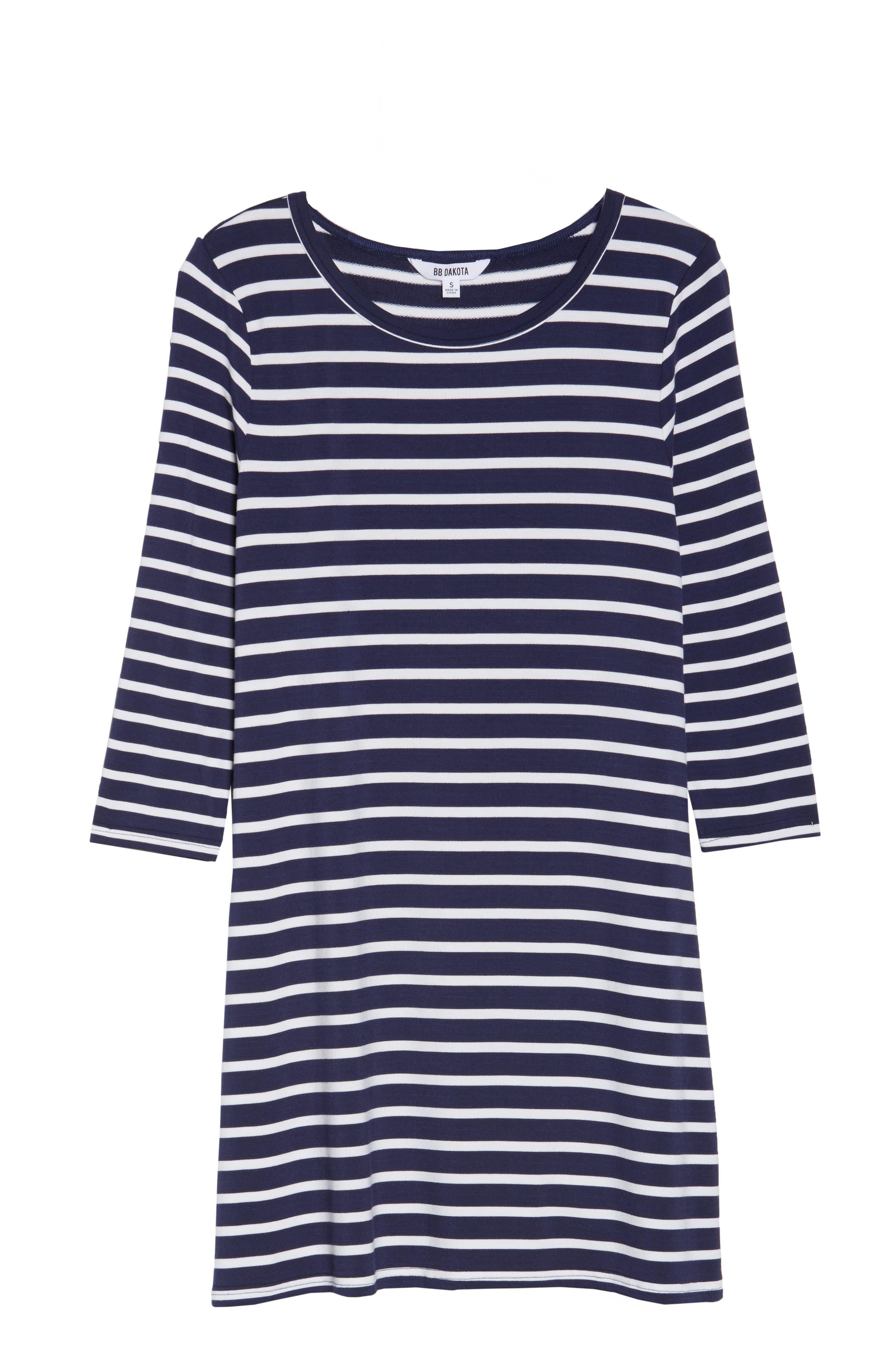 Adelene Stripe Knit Shift Dress,                             Alternate thumbnail 6, color,                             Navy