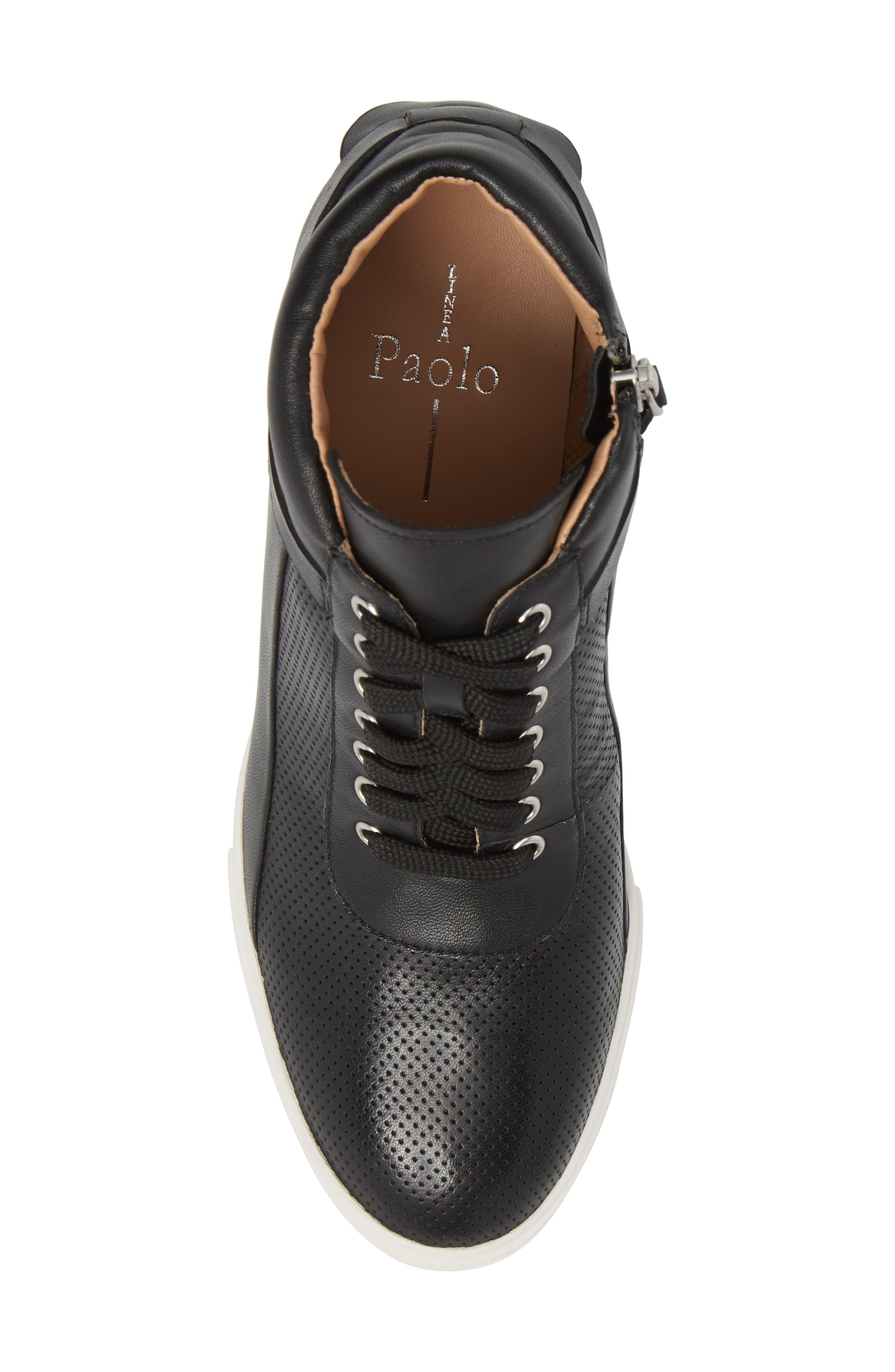 Freja Wedge Sneaker,                             Alternate thumbnail 5, color,                             Black Leather