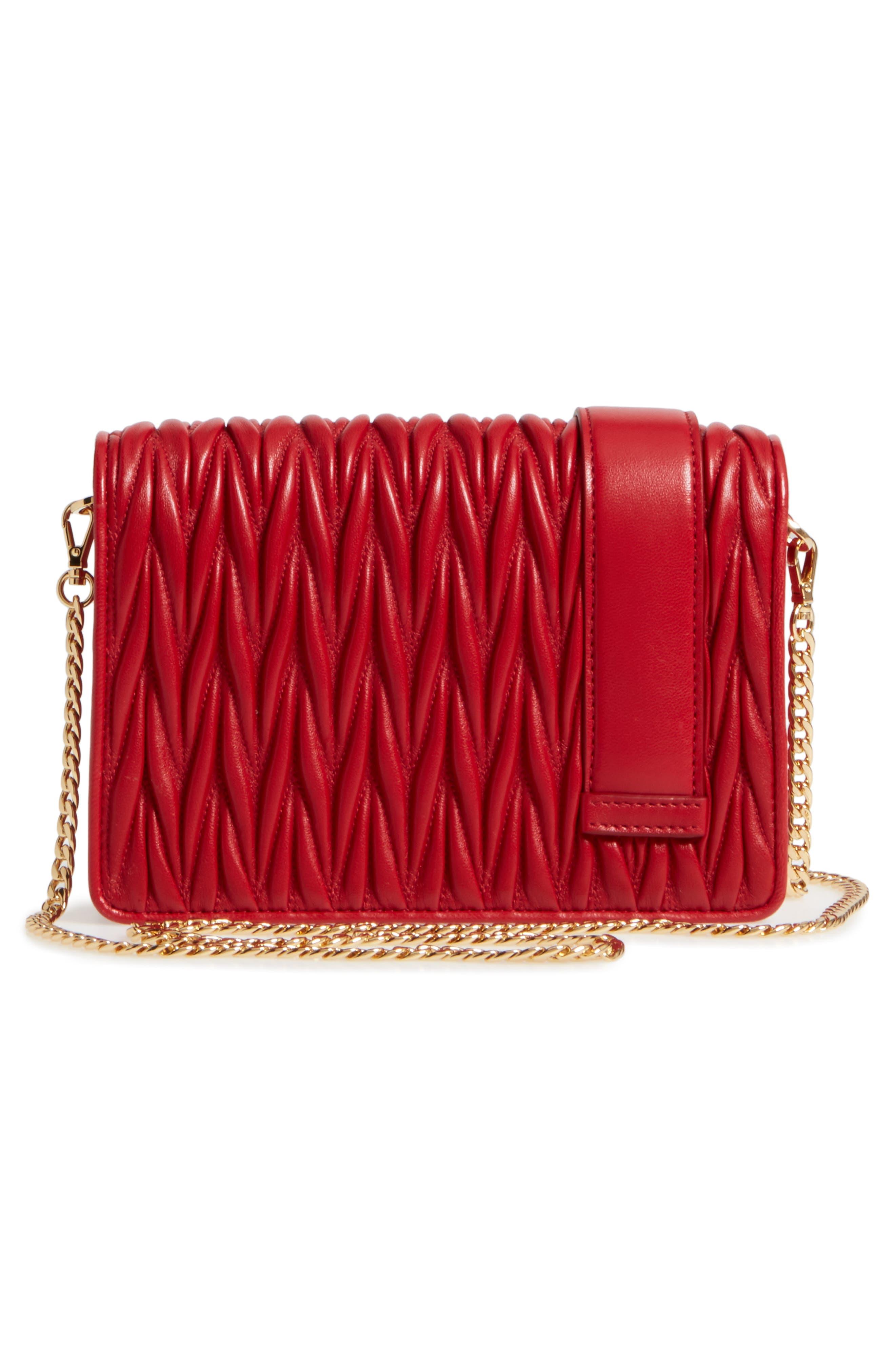 Matelassé Leather Shoulder Bag,                             Alternate thumbnail 3, color,                             Fuoco