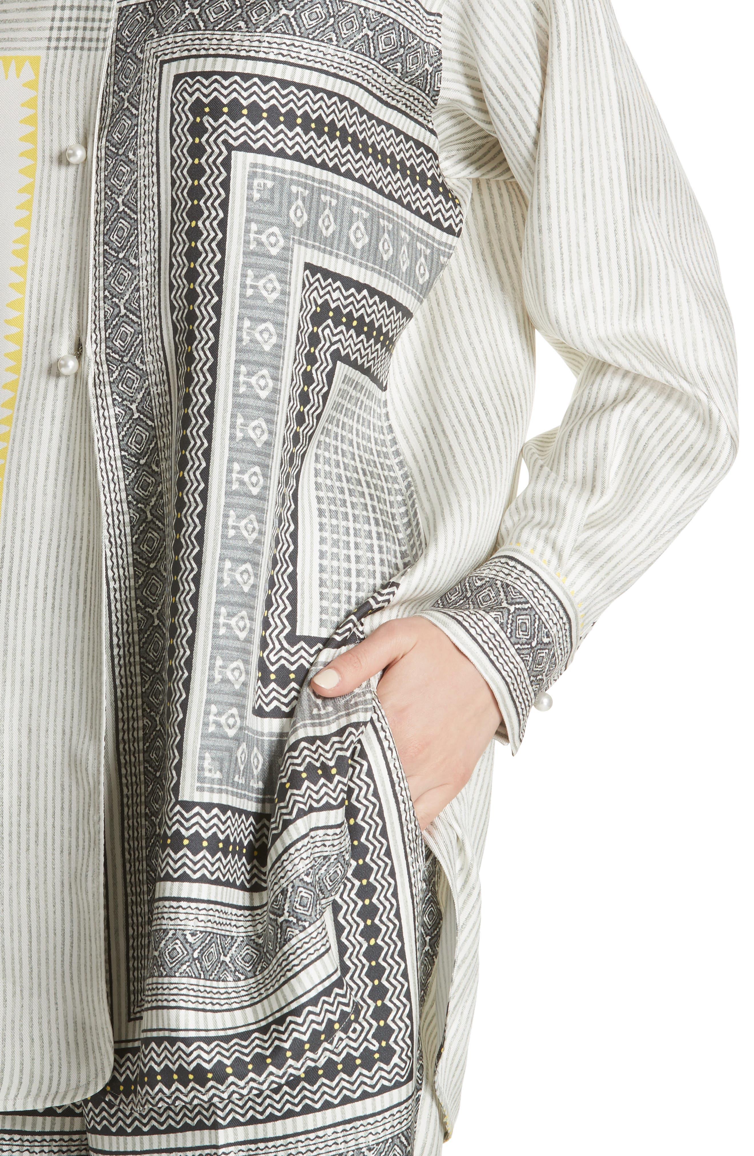 Pearl Button Silk Top,                             Alternate thumbnail 4, color,                             White