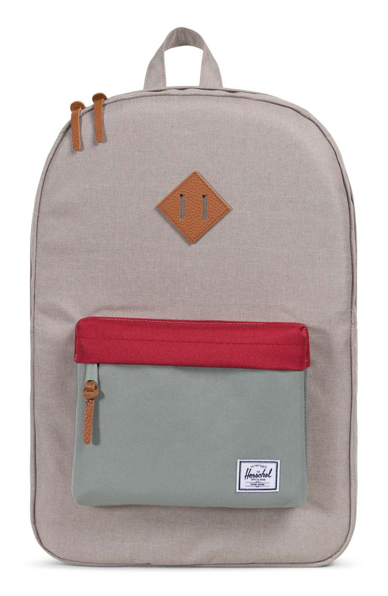 Heritage Backpack,                         Main,                         color, Khaki/ Shadow/ Brick Red/ Tan