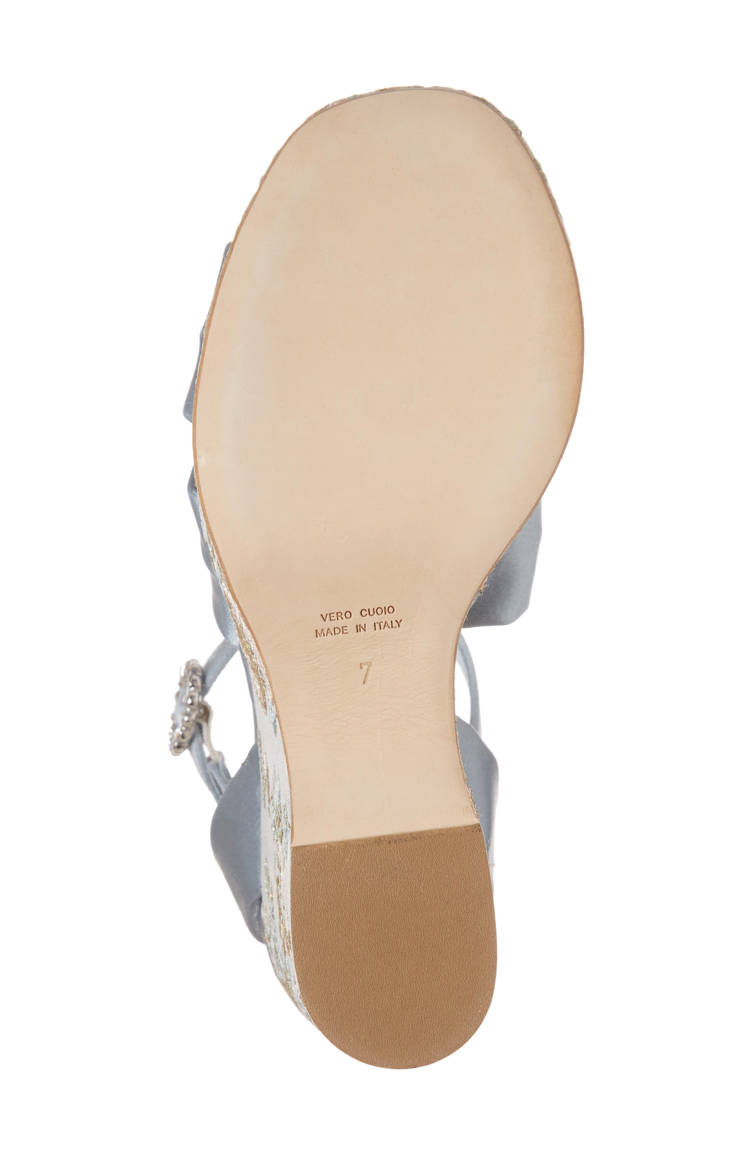 Serena Brocade Platform Sandal,                             Alternate thumbnail 6, color,                             Pearl Blue Satin
