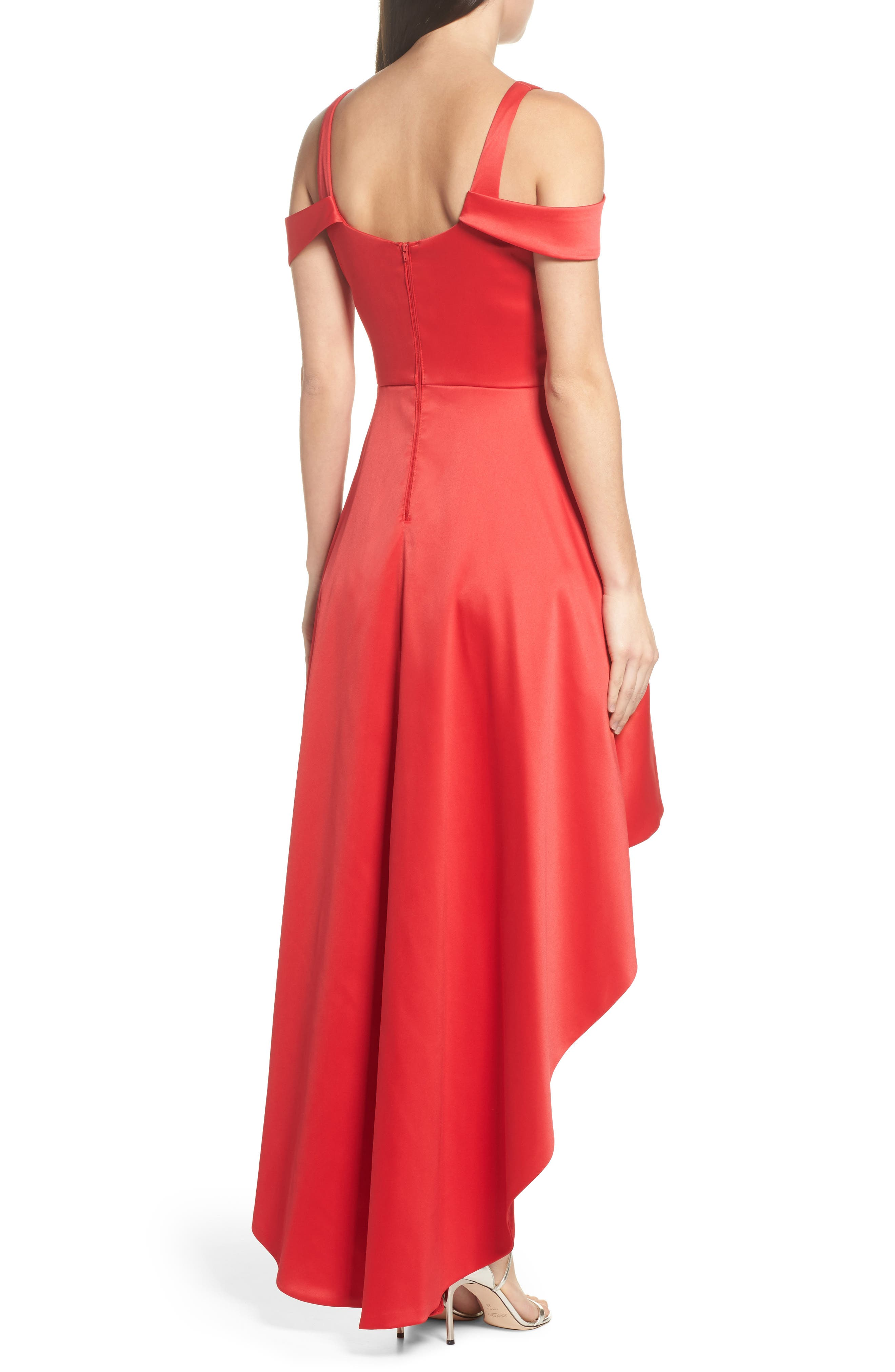 Cold Shoulder High/Low Gown,                             Alternate thumbnail 2, color,                             Red