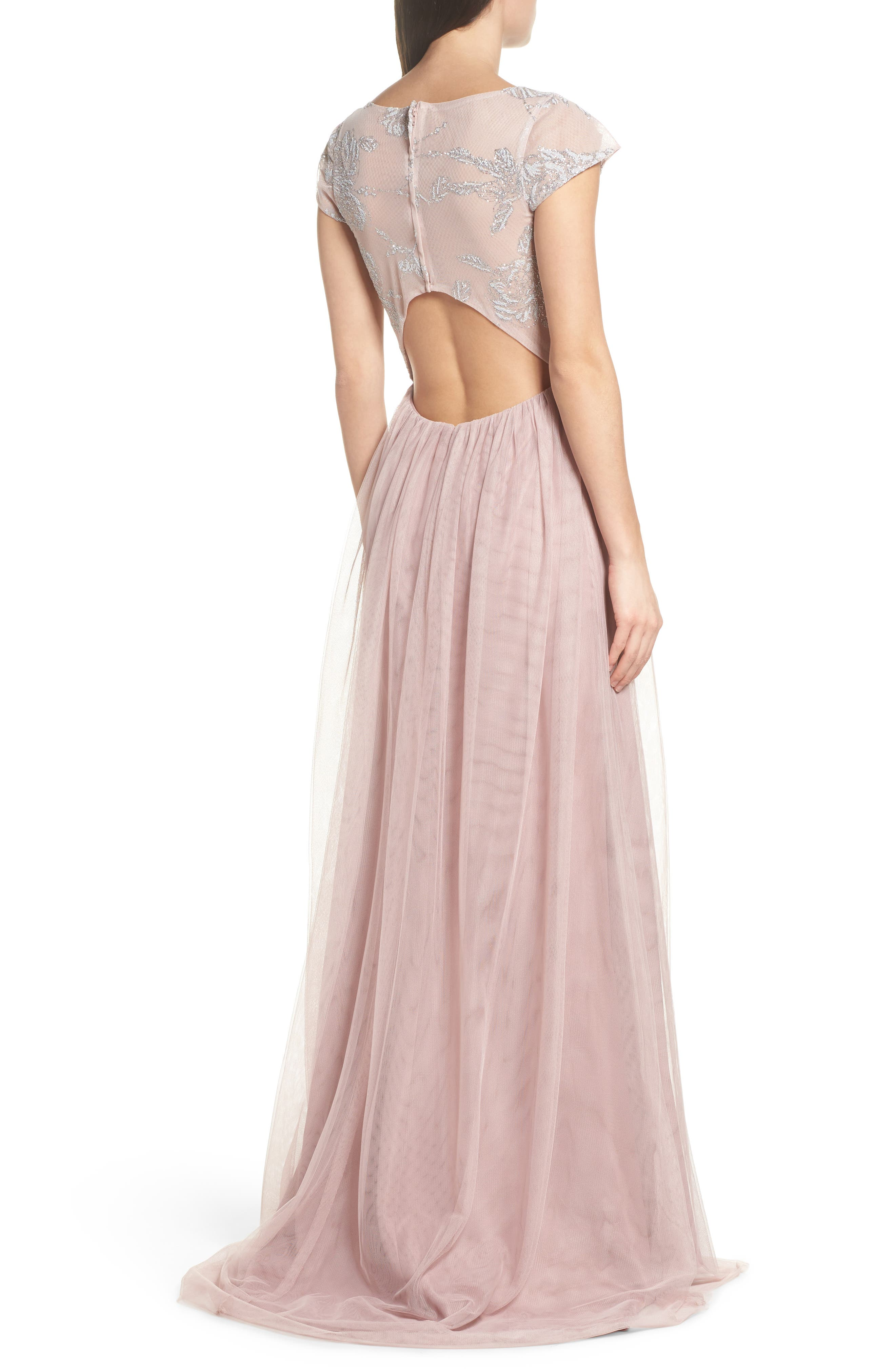 Embroidered Bodice Net Gown,                             Alternate thumbnail 2, color,                             Dusty Rose