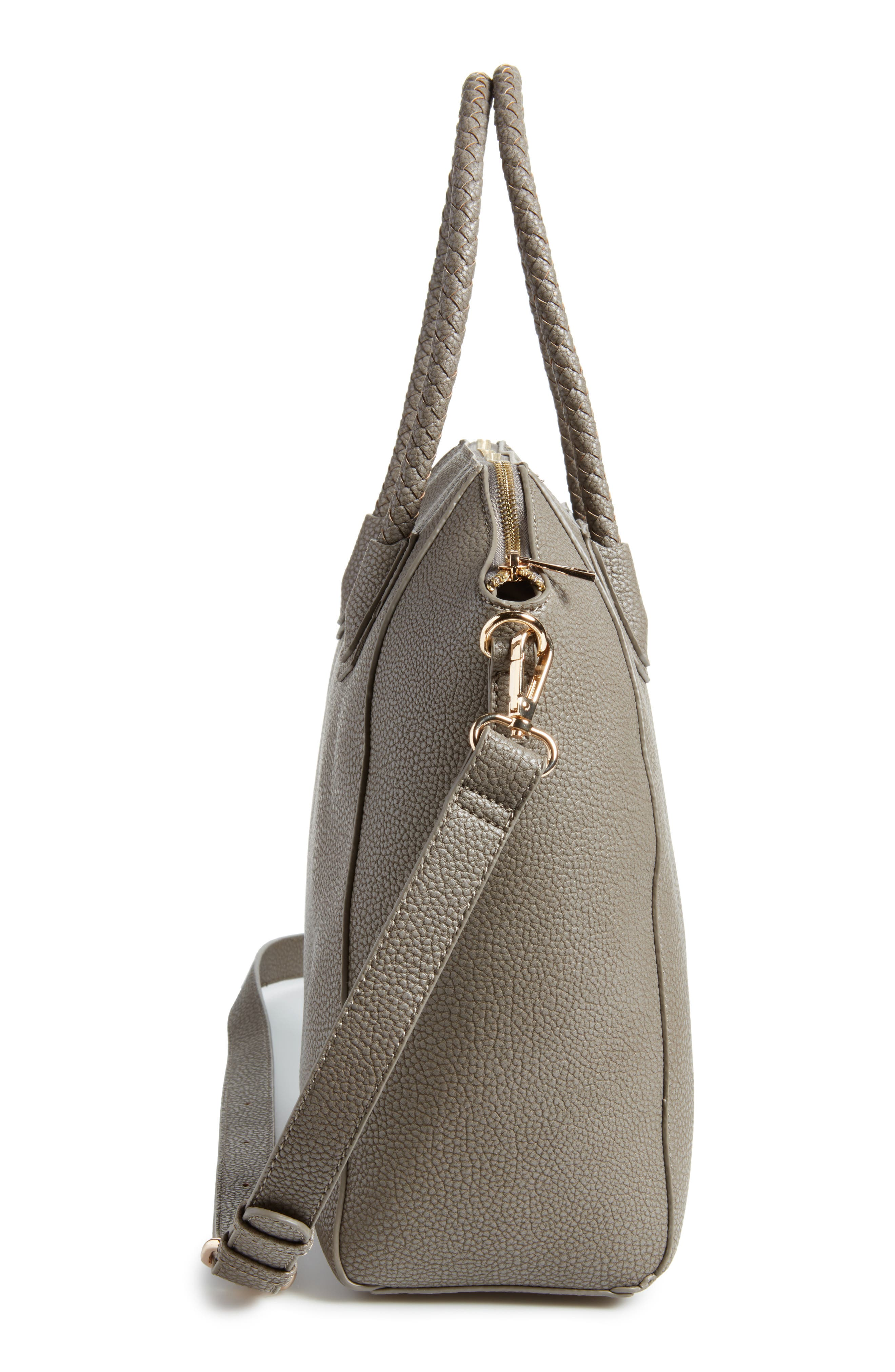 Giada Braided Faux Leather Satchel,                             Alternate thumbnail 5, color,                             Grey