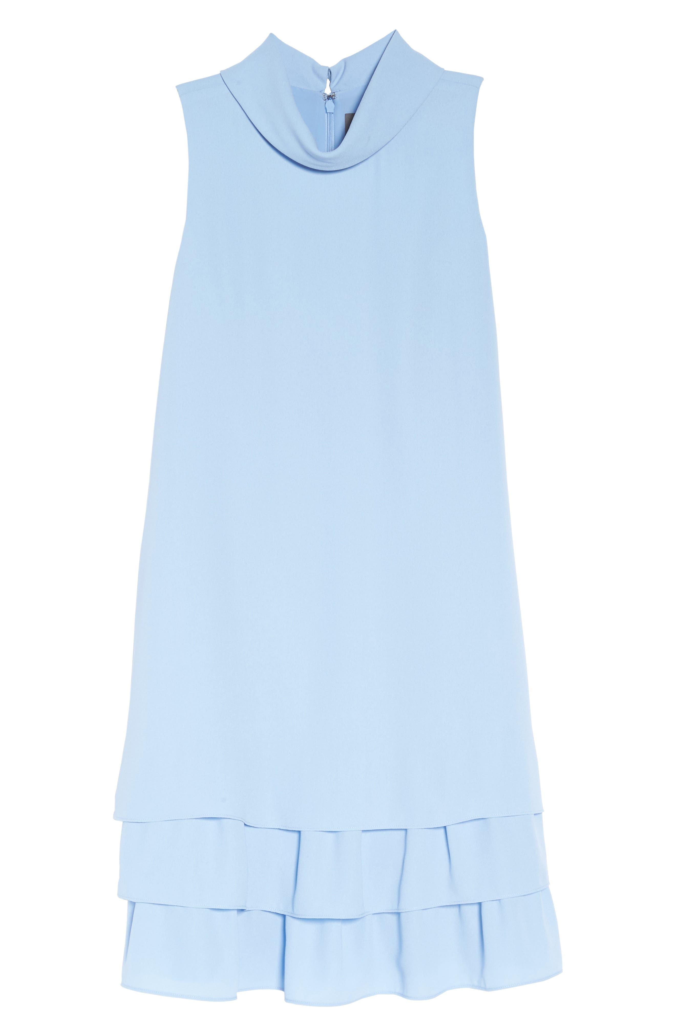 Moss Crepe Roll Neck Ruffle Dress,                             Alternate thumbnail 6, color,                             Light Blue