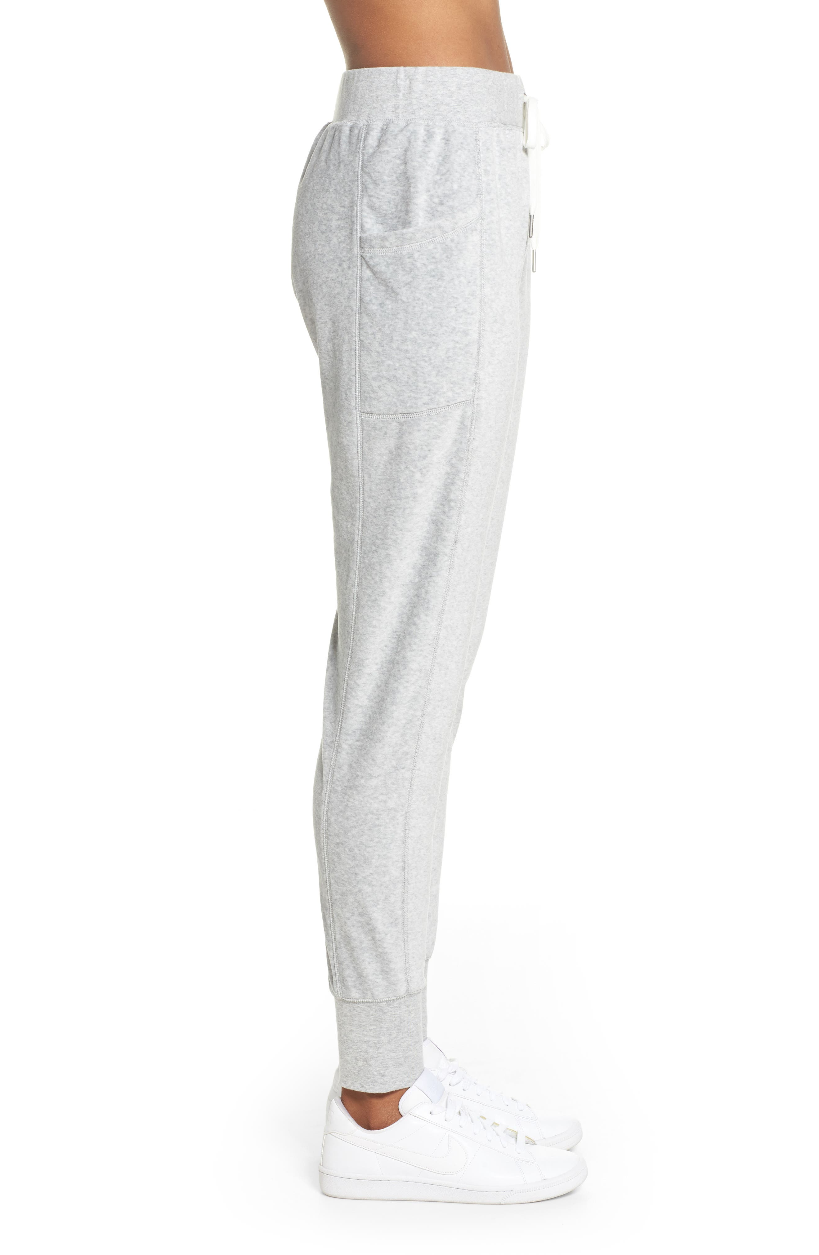 Lexi Slim Velour Leggings,                             Alternate thumbnail 4, color,                             Grey Light Heather