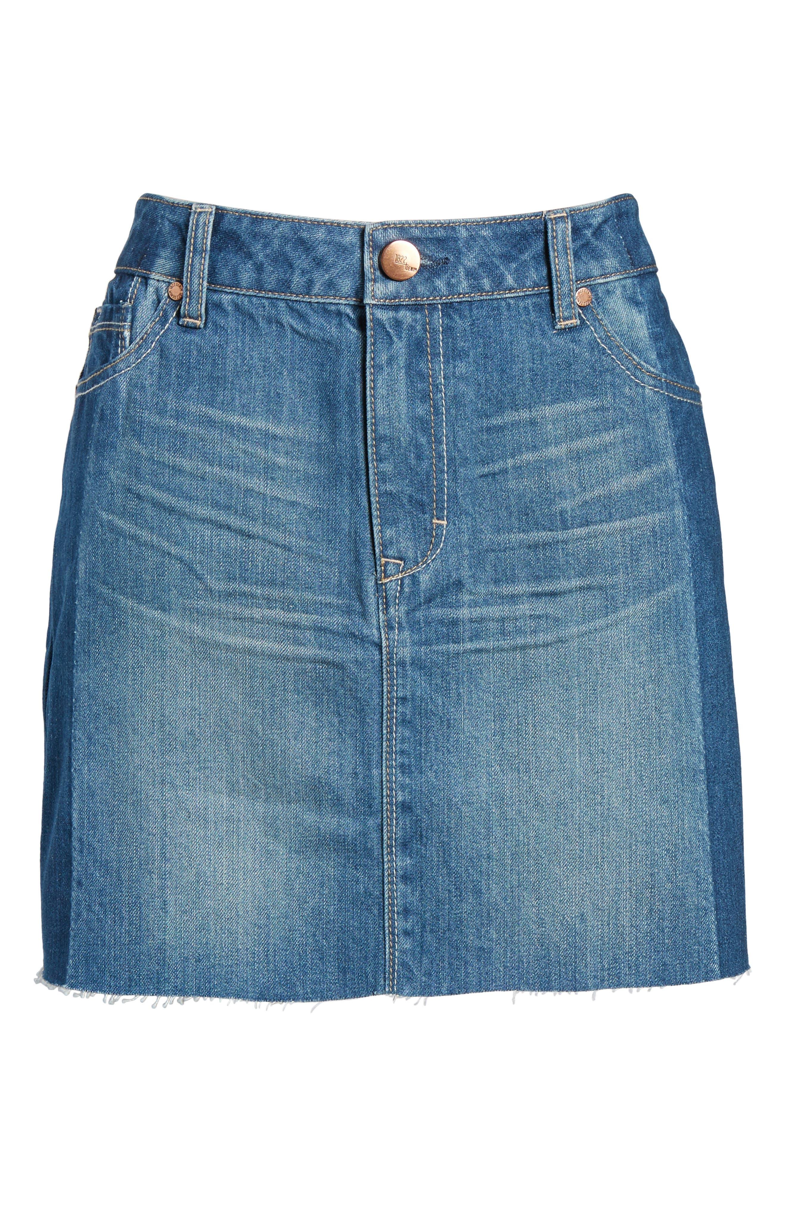 Two Tone Denim Skirt,                             Alternate thumbnail 6, color,                             Lexington