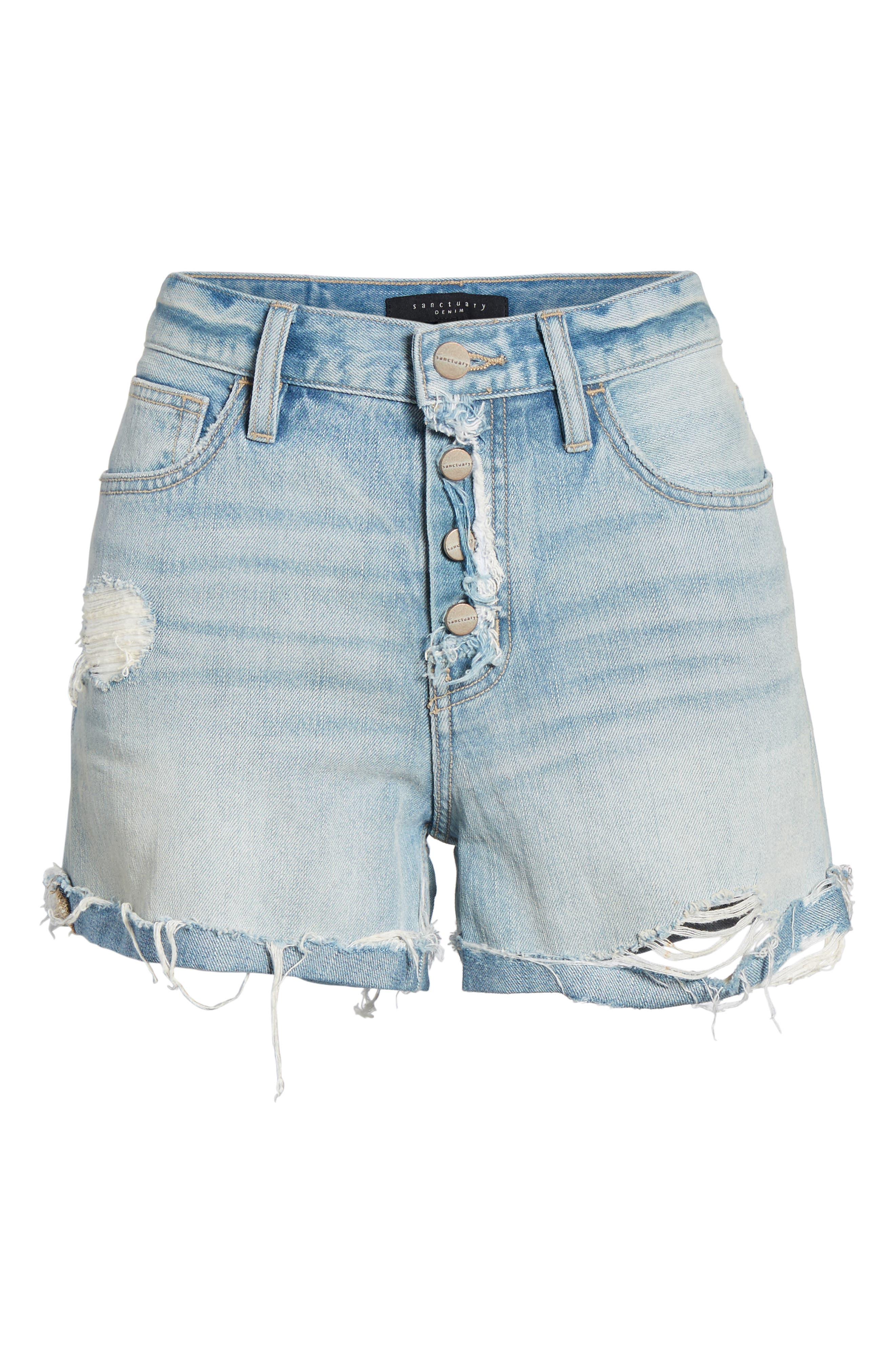 Distressed Fray Hem Rolled Shorts,                             Alternate thumbnail 7, color,                             Olivia Wash