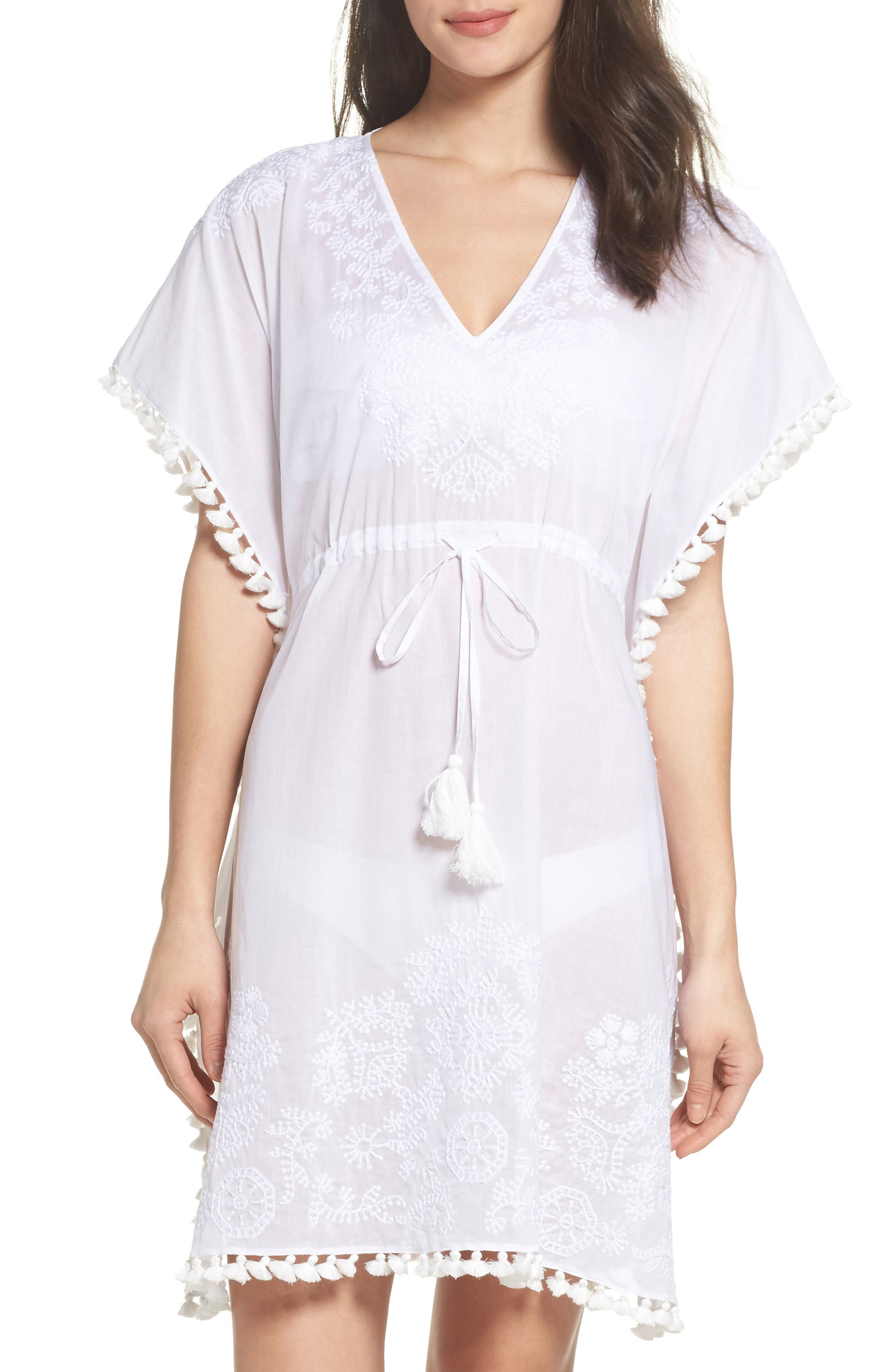Embroidered Cover-Up Caftan,                             Main thumbnail 1, color,                             White / White