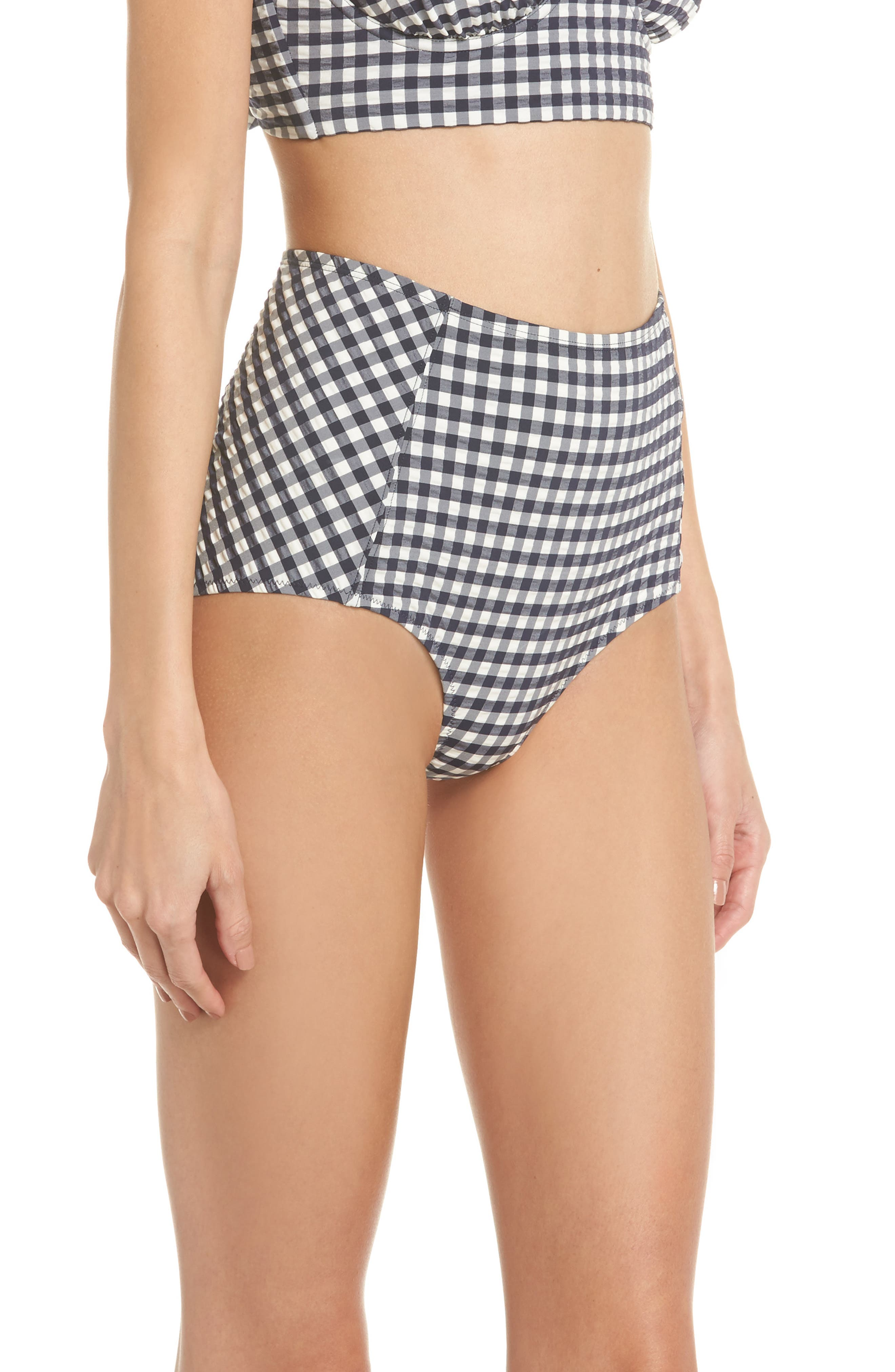 Gingham High Waist Bikini Bottoms,                             Alternate thumbnail 3, color,                             Tory Navy / White