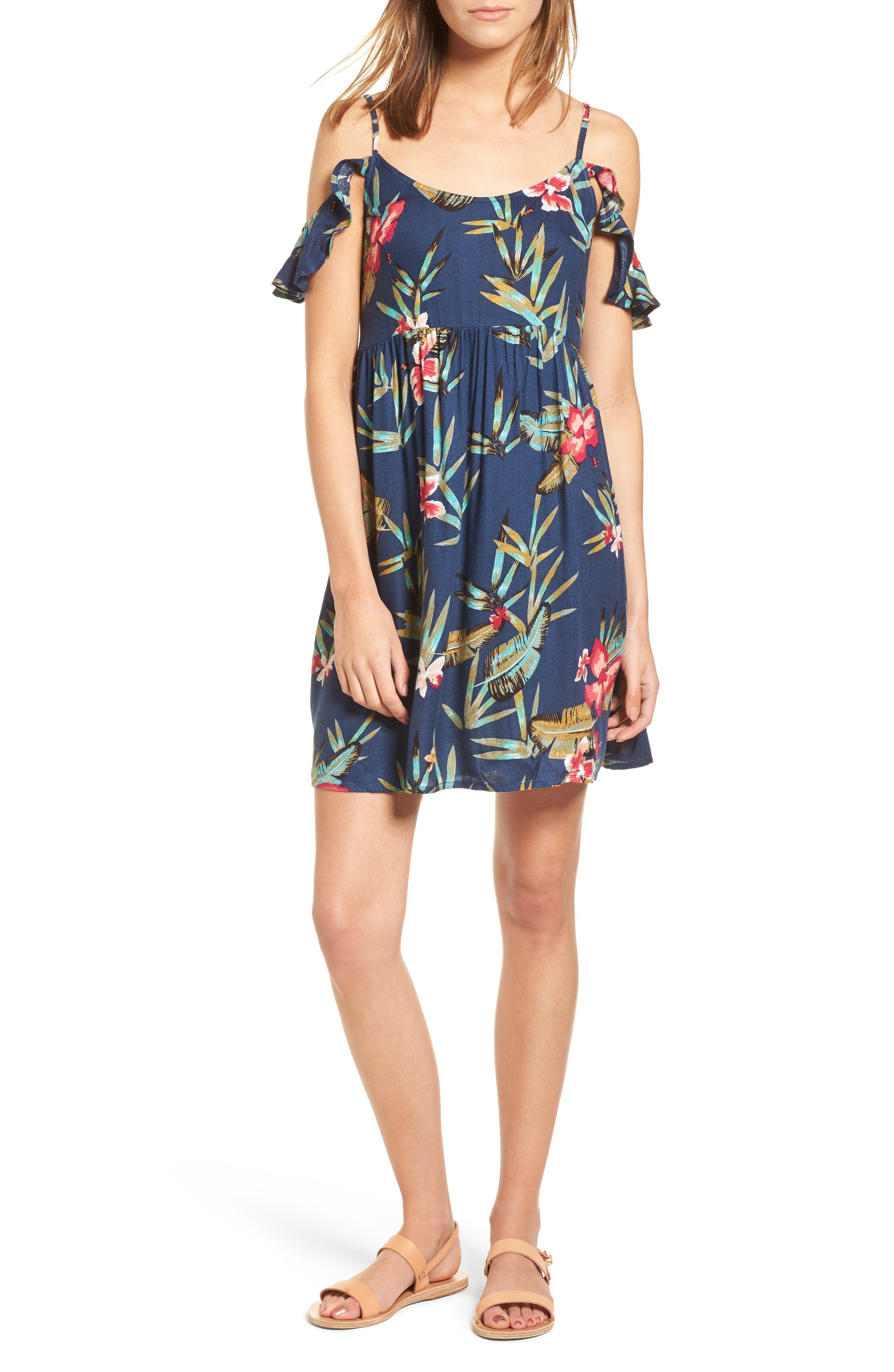 Do It My Way Cold Shoulder Sundress,                             Main thumbnail 1, color,                             Dress Blue Isle