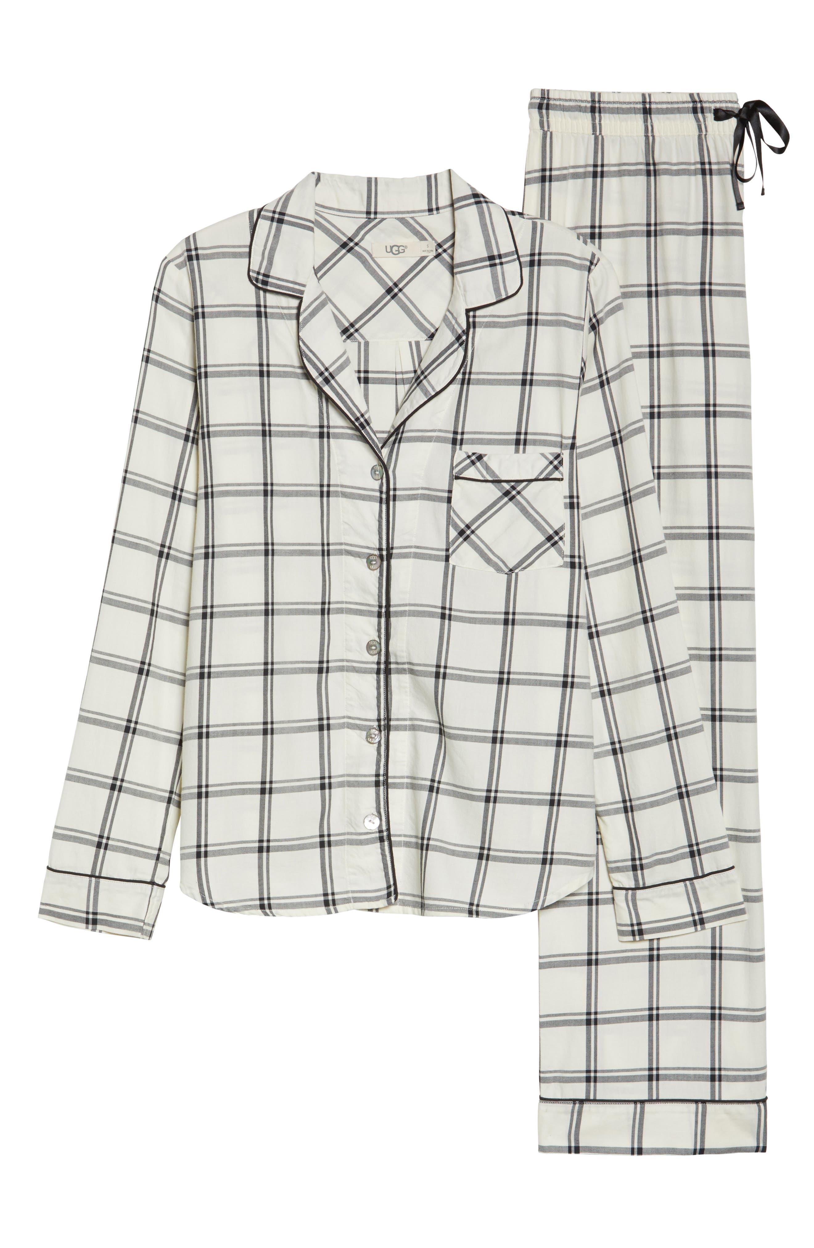 Raven Plaid Pajamas,                             Alternate thumbnail 4, color,                             Cream/ Black