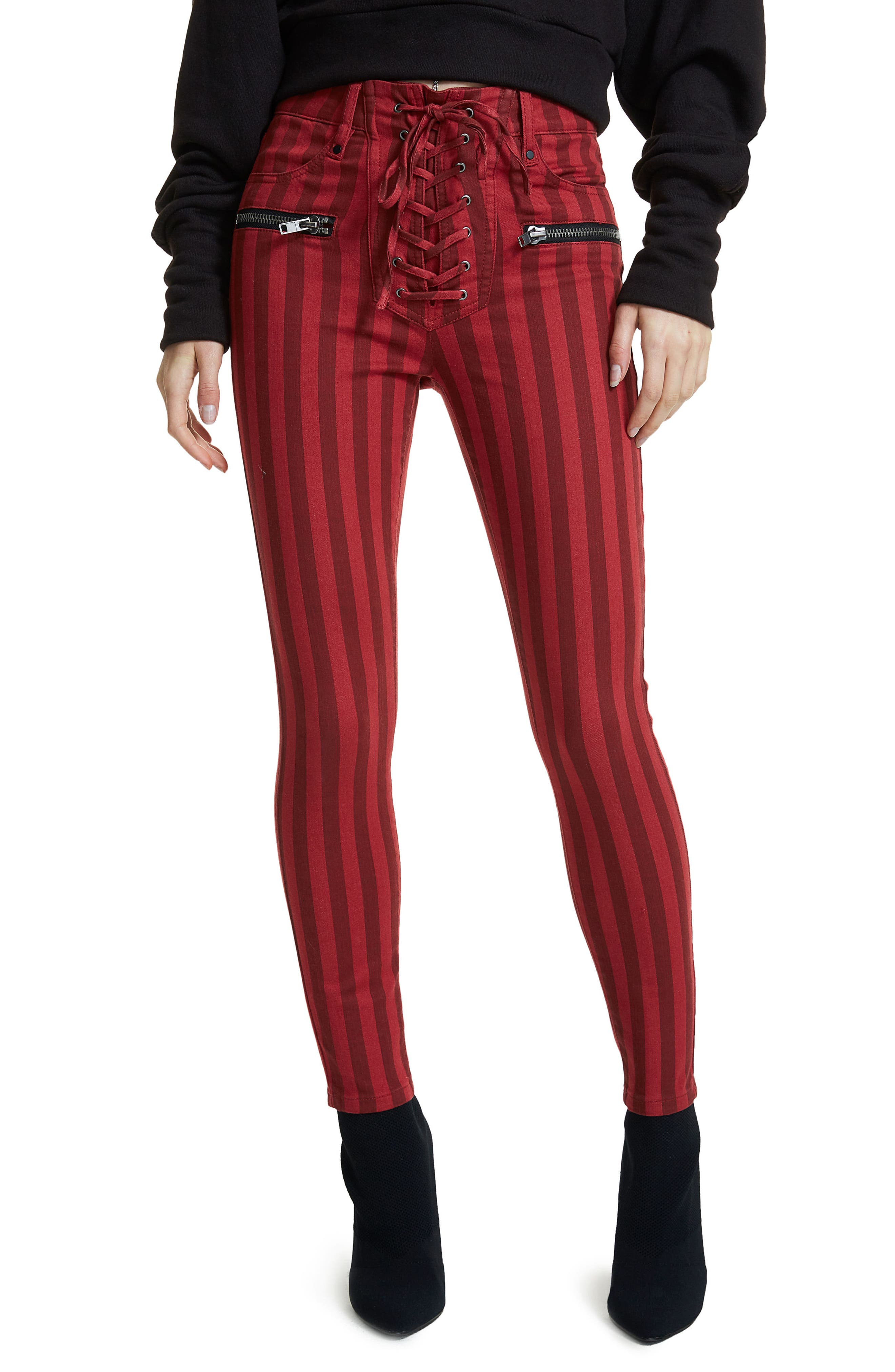 Alden Lace-Up Skinny Jeans,                         Main,                         color, Red Stripe