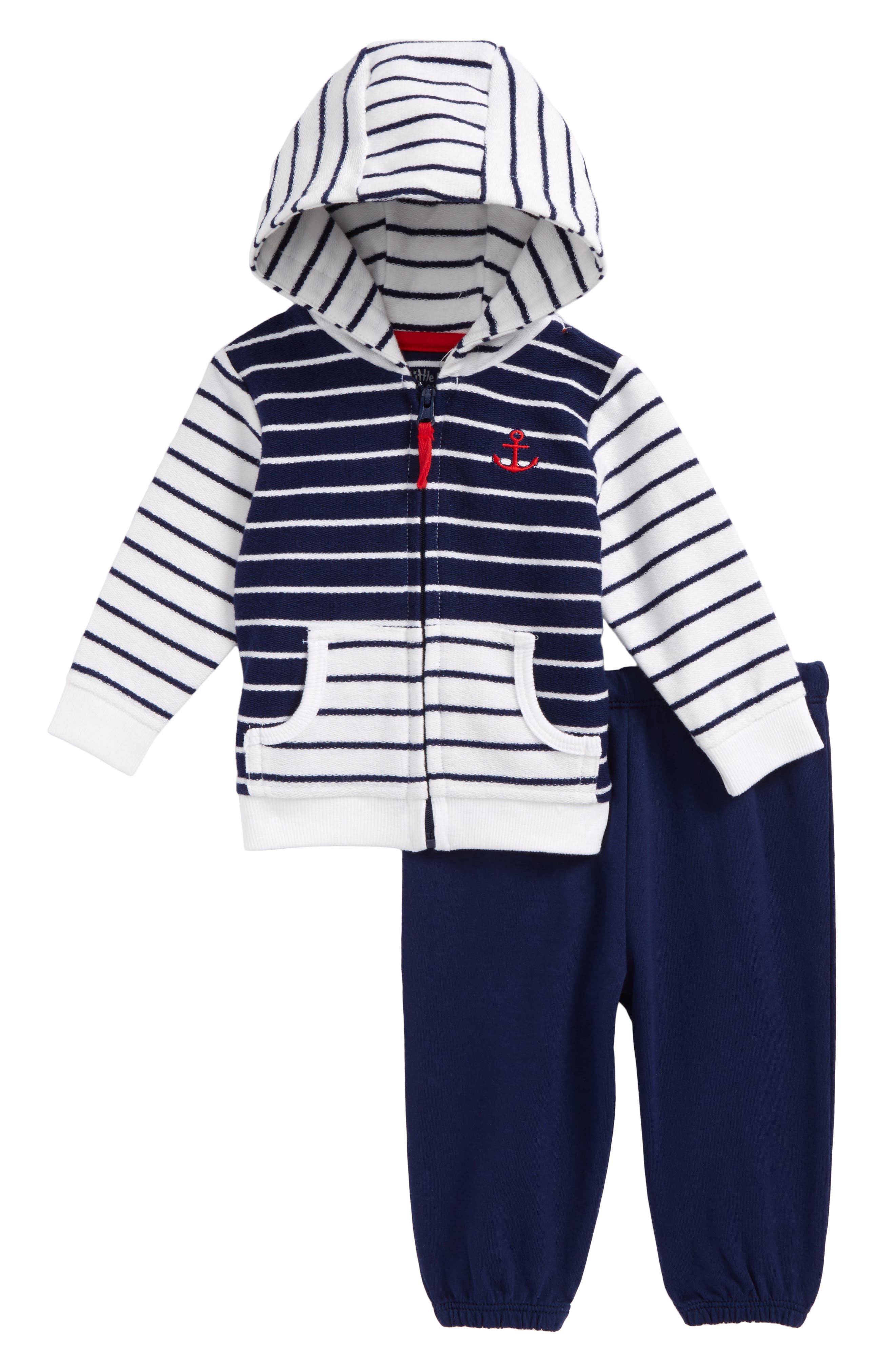 Stripe Mix French Terry Jacket & Pants Set,                         Main,                         color, Navy