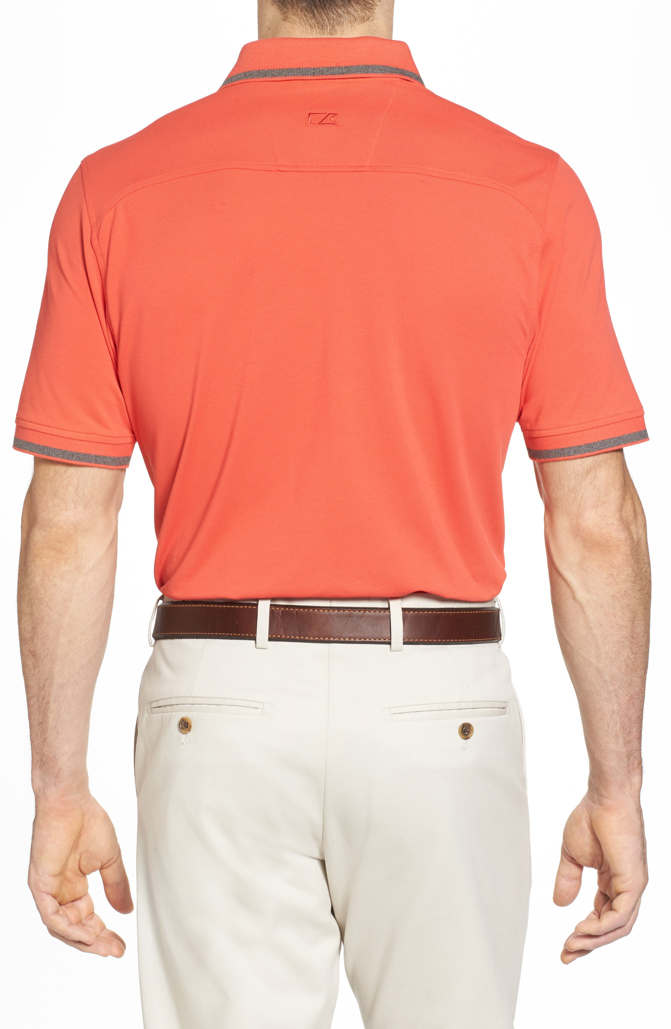 Tipped DryTec Polo,                             Alternate thumbnail 2, color,                             Tangelo